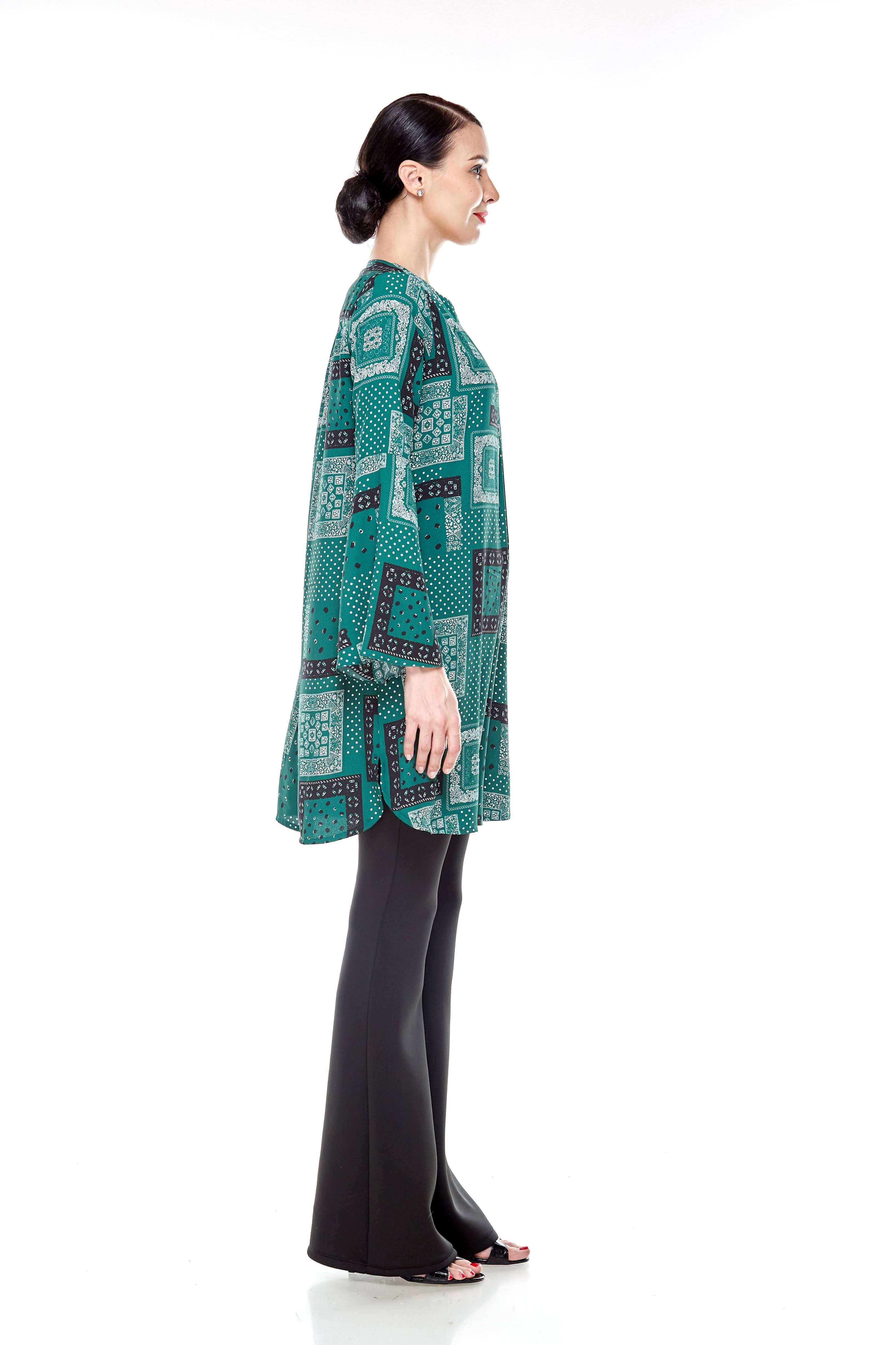 Leaf Green Printed Bell Sleeve Tunic (7)