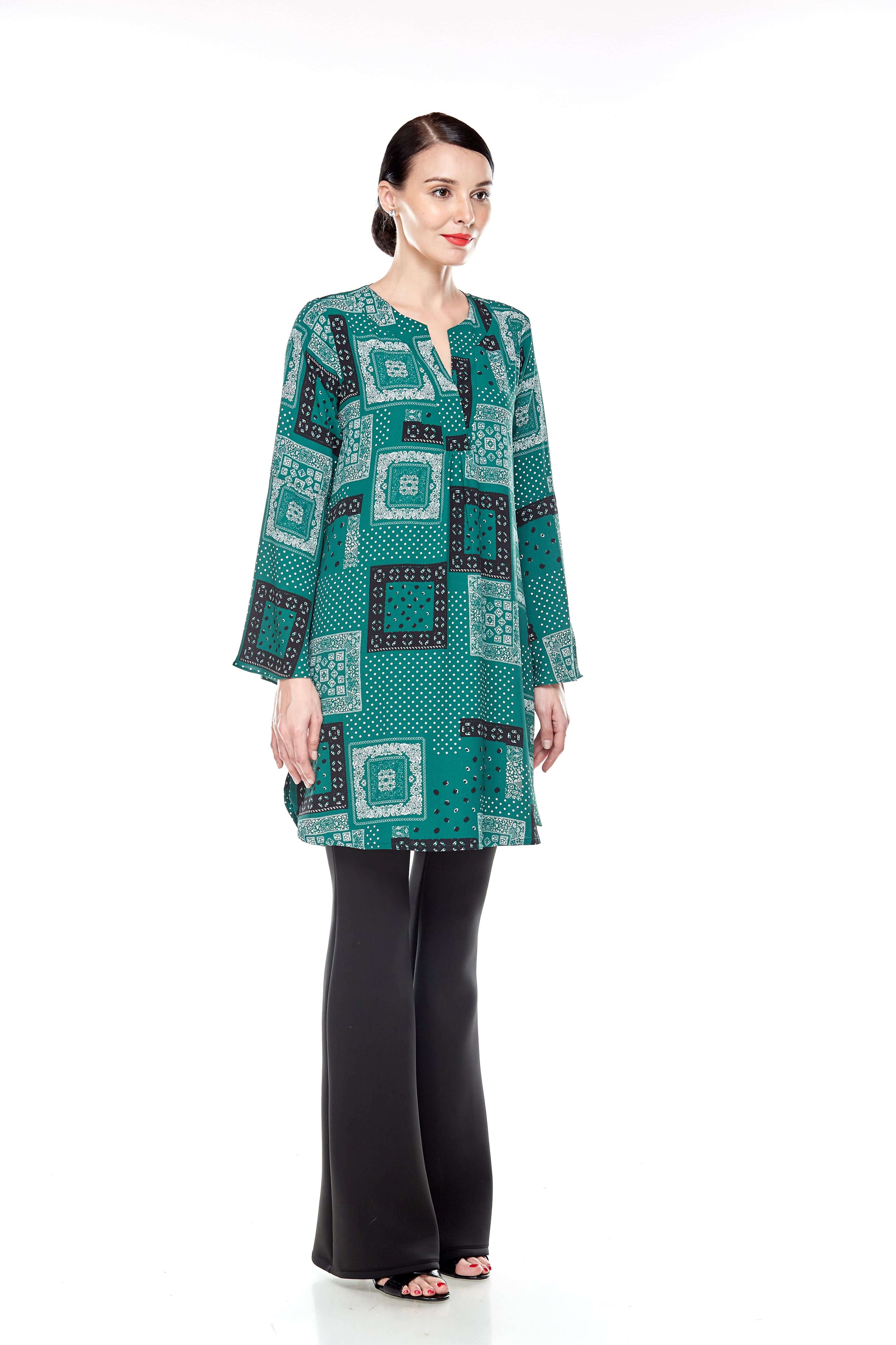 Leaf Green Printed Bell Sleeve Tunic (8)