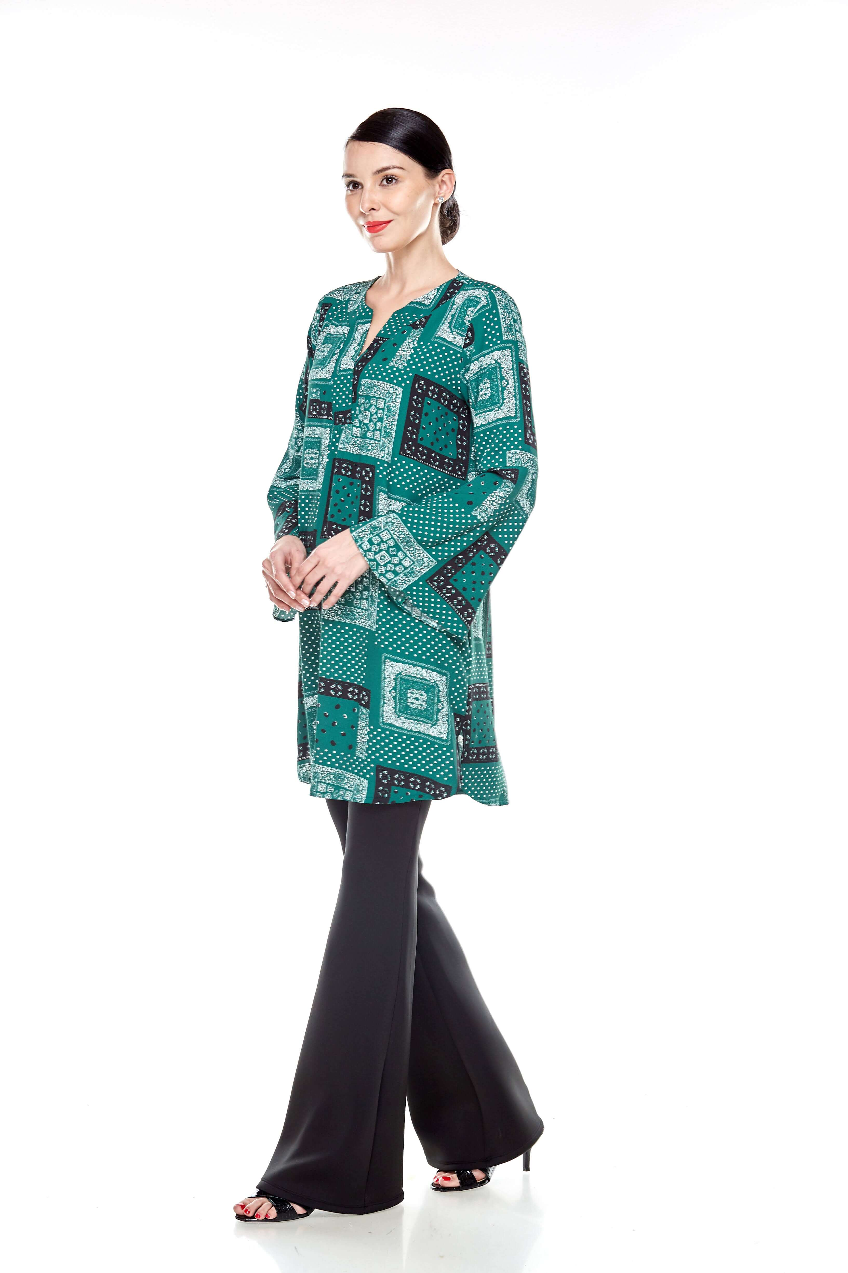 Leaf Green Printed Bell Sleeve Tunic (9)