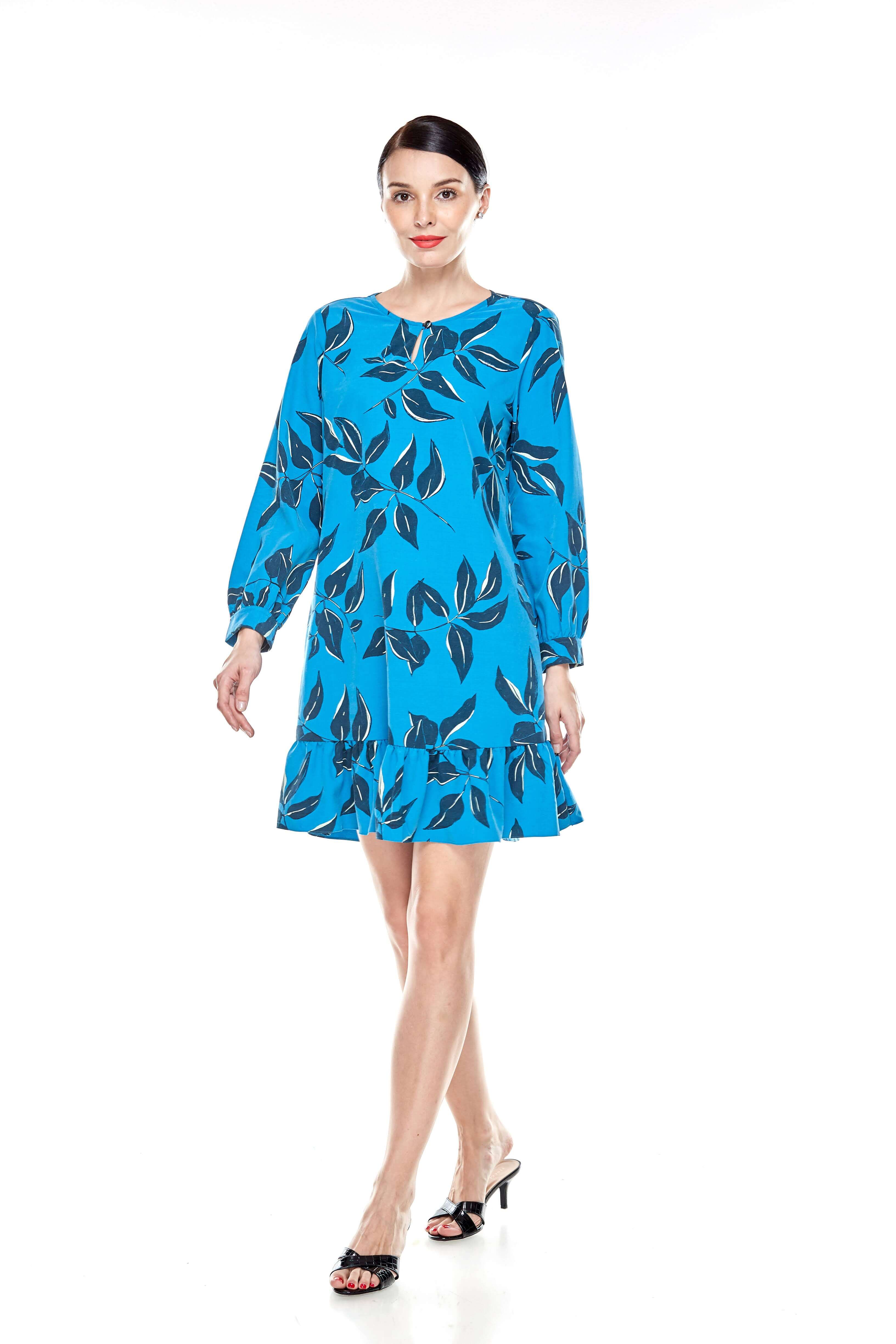 Mosaic Blue Printed Tunic With Bow Sleeves (10)