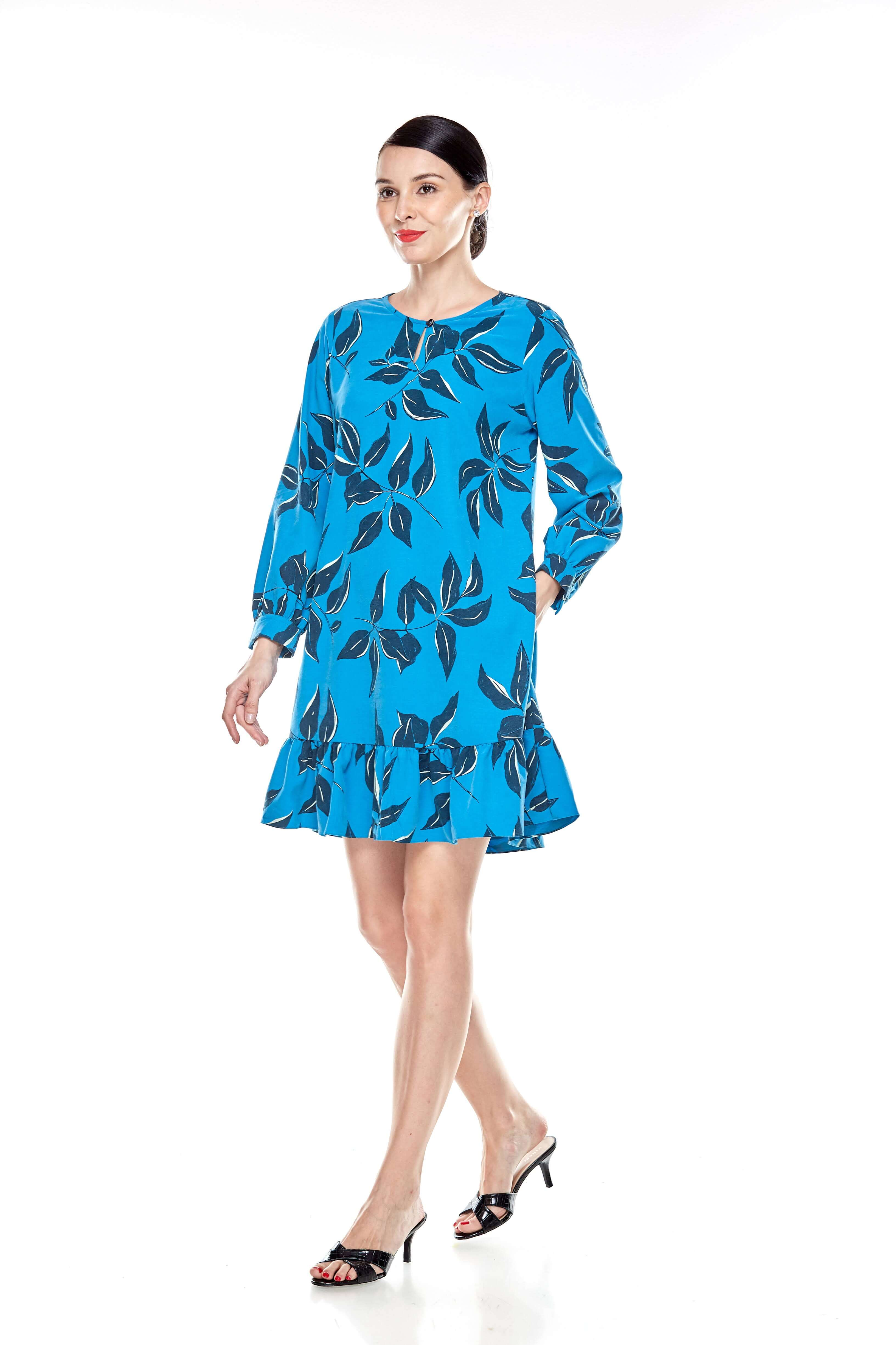Mosaic Blue Printed Tunic With Bow Sleeves (11)