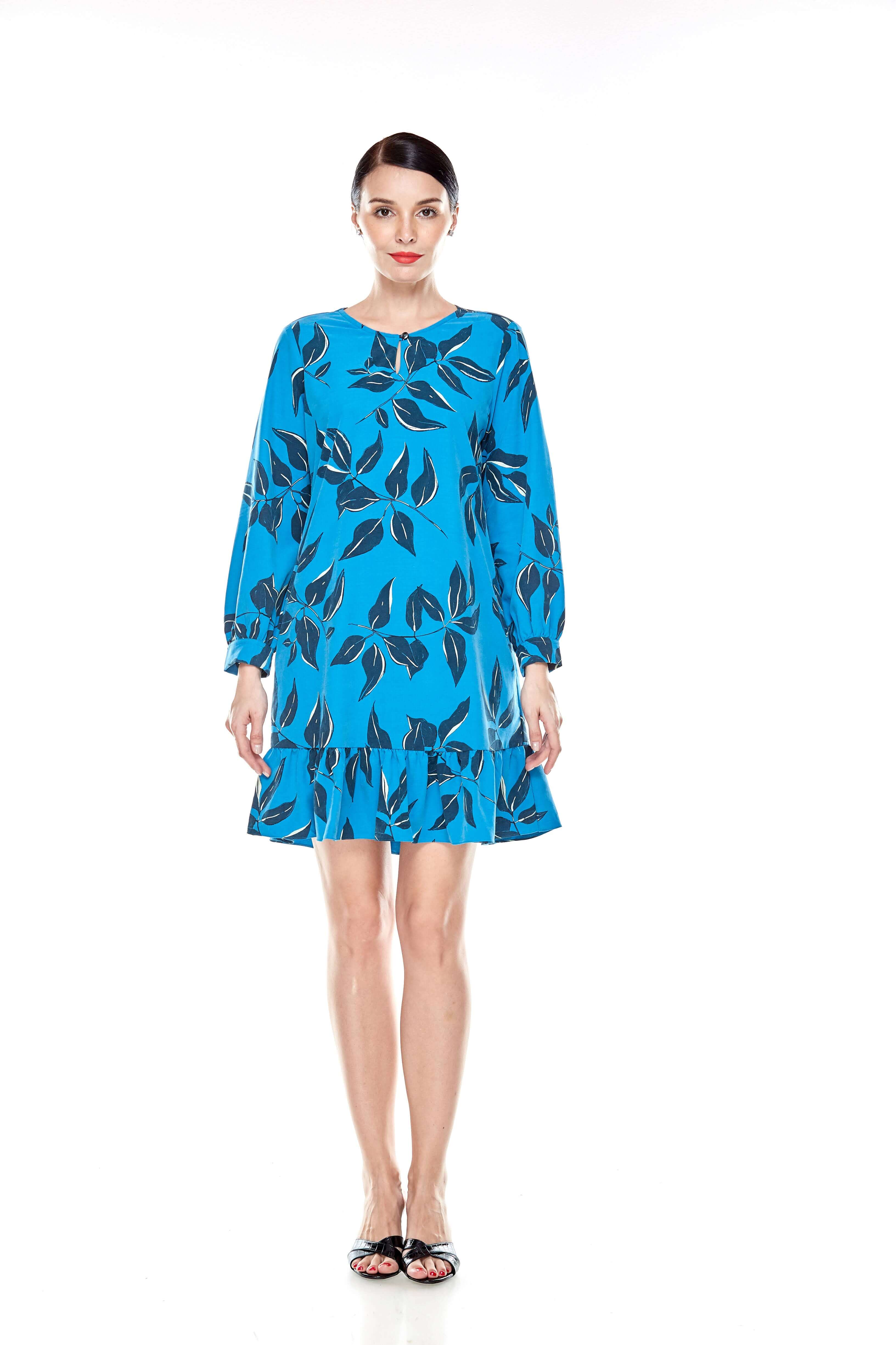 Mosaic Blue Printed Tunic With Bow Sleeves (2)