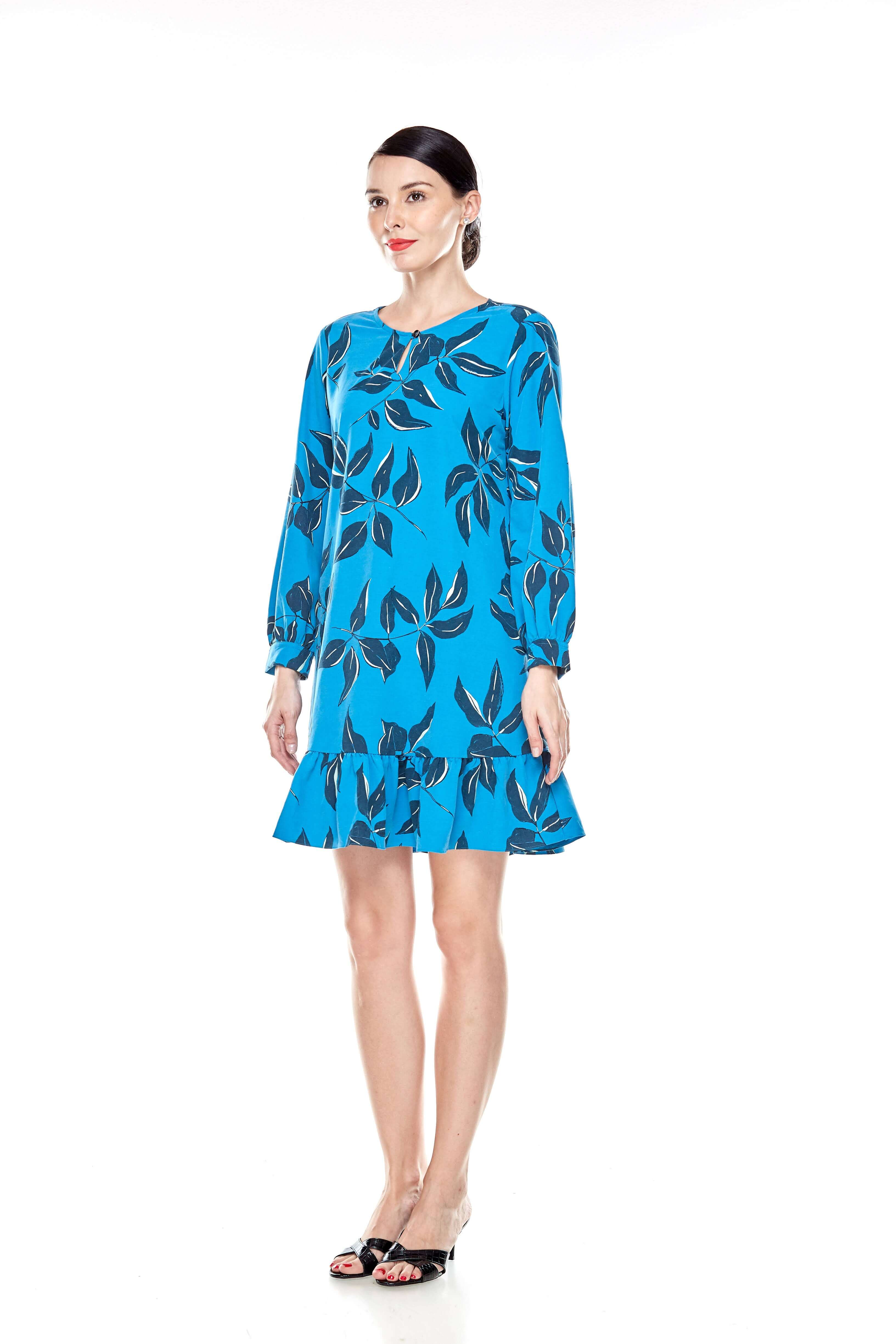 Mosaic Blue Printed Tunic With Bow Sleeves (3)