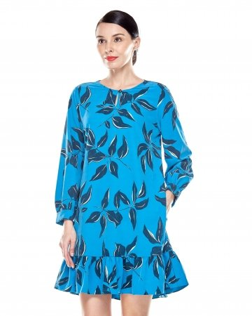 Mosaic Blue Printed Tunic With Bow Sleeves
