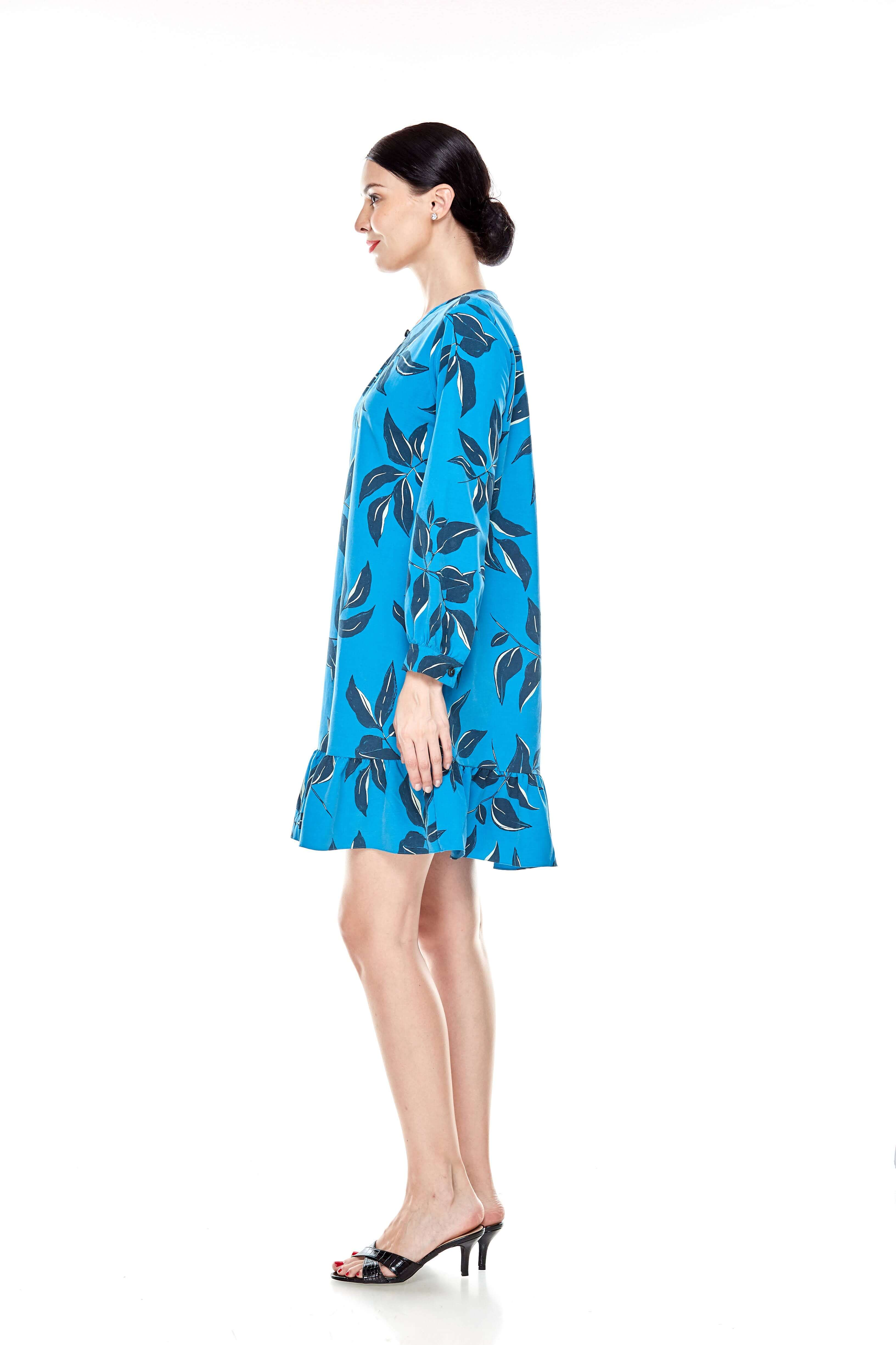 Mosaic Blue Printed Tunic With Bow Sleeves (4)