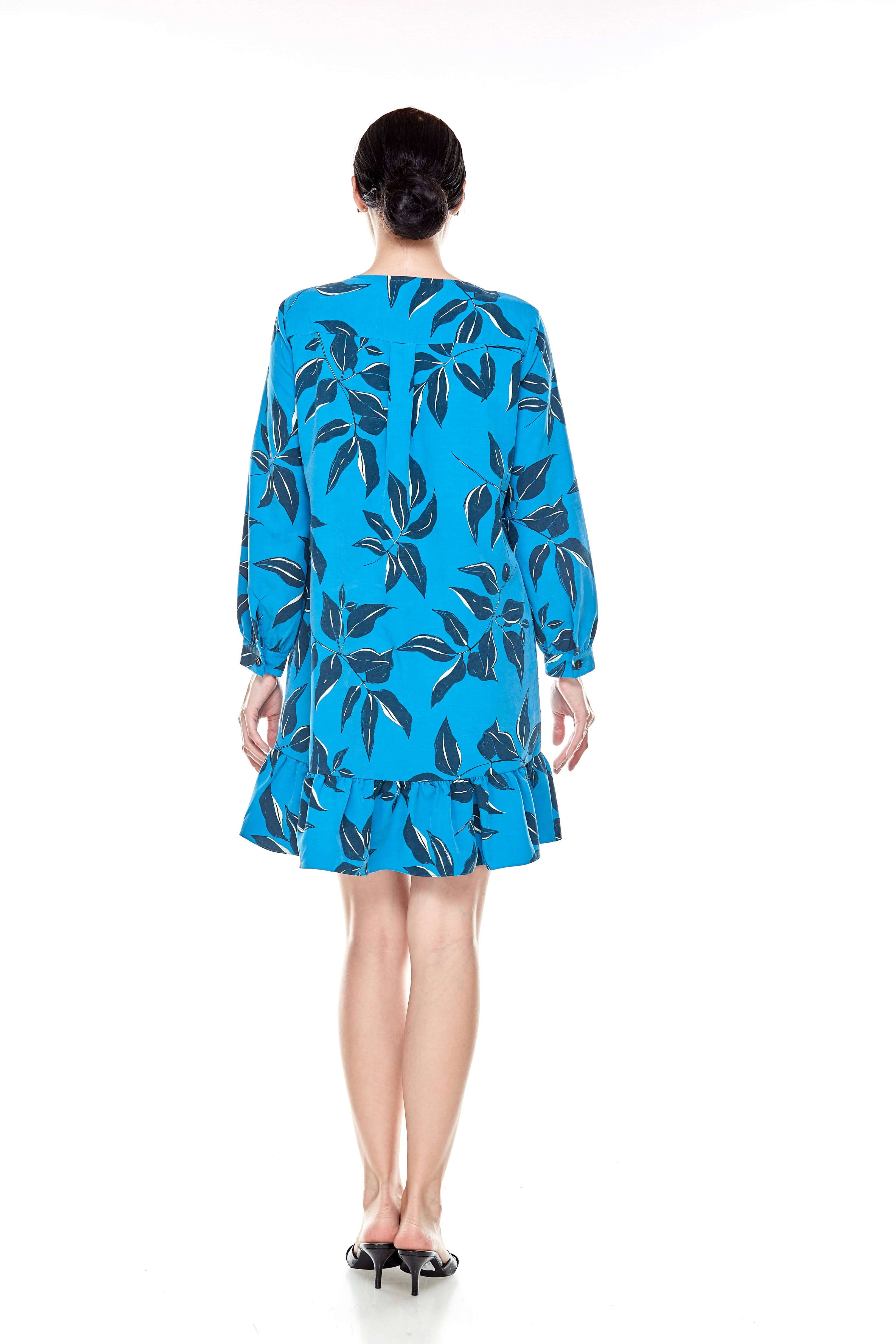 Mosaic Blue Printed Tunic With Bow Sleeves (5)