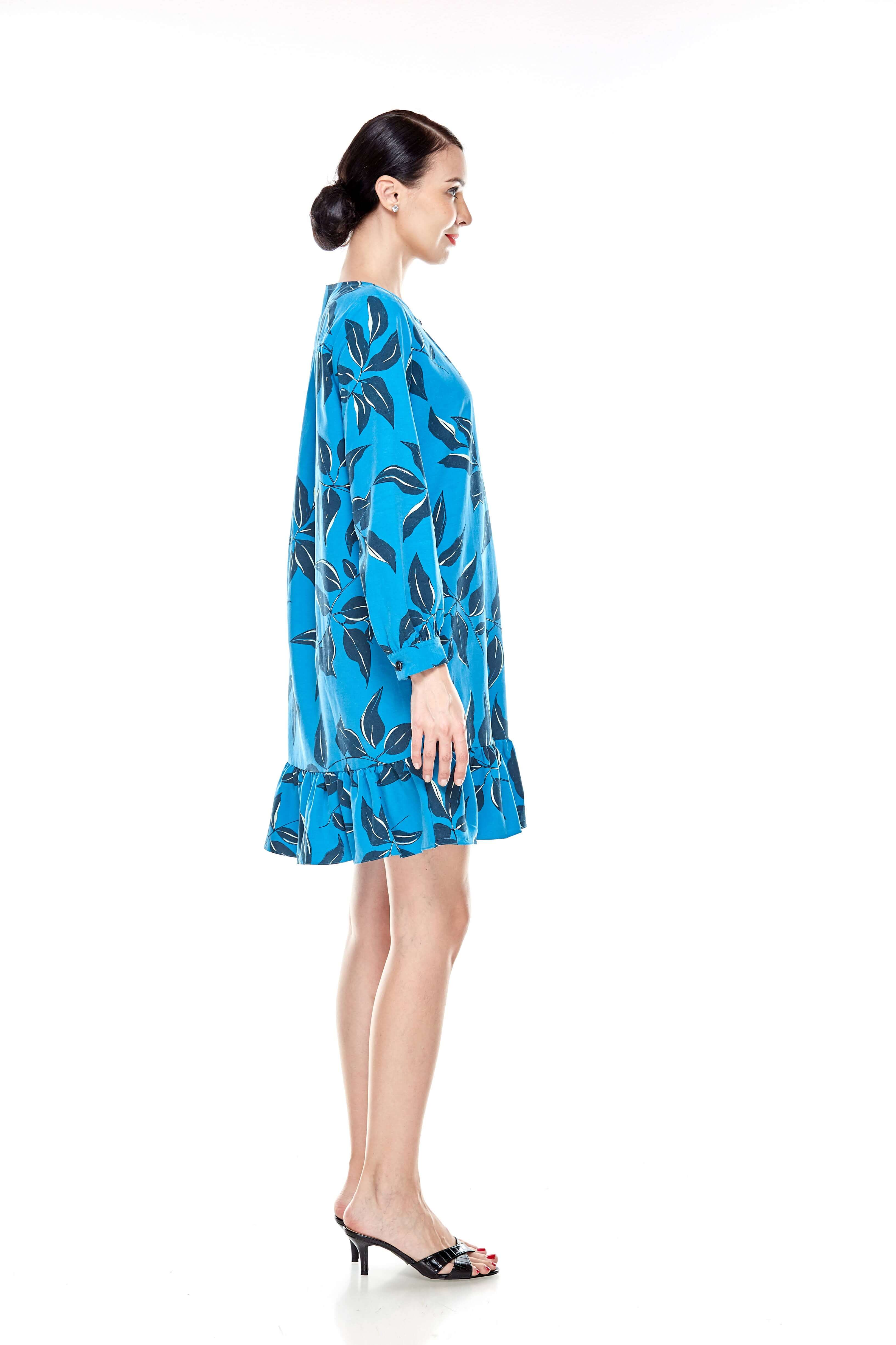 Mosaic Blue Printed Tunic With Bow Sleeves (6)