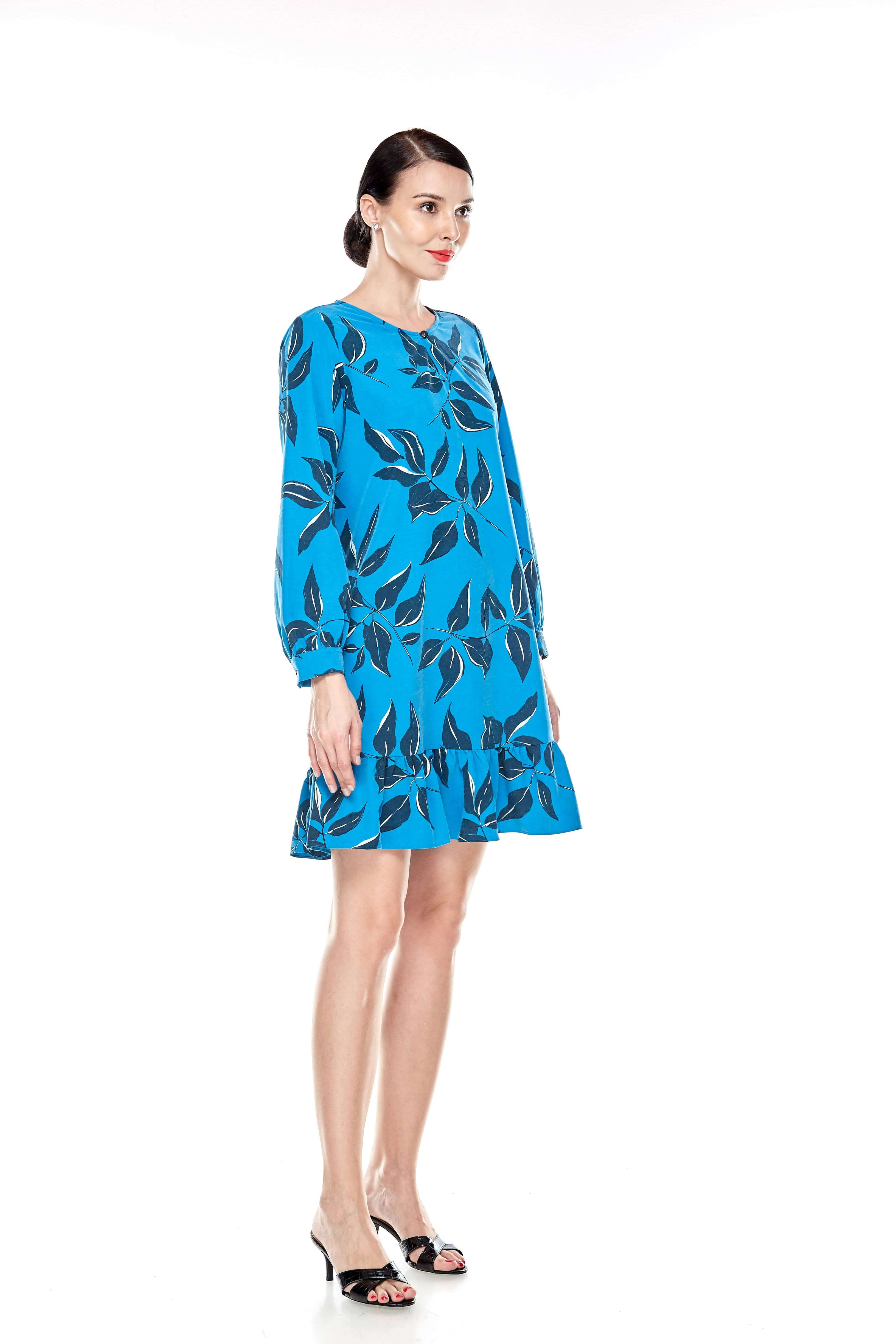 Mosaic Blue Printed Tunic With Bow Sleeves (7)
