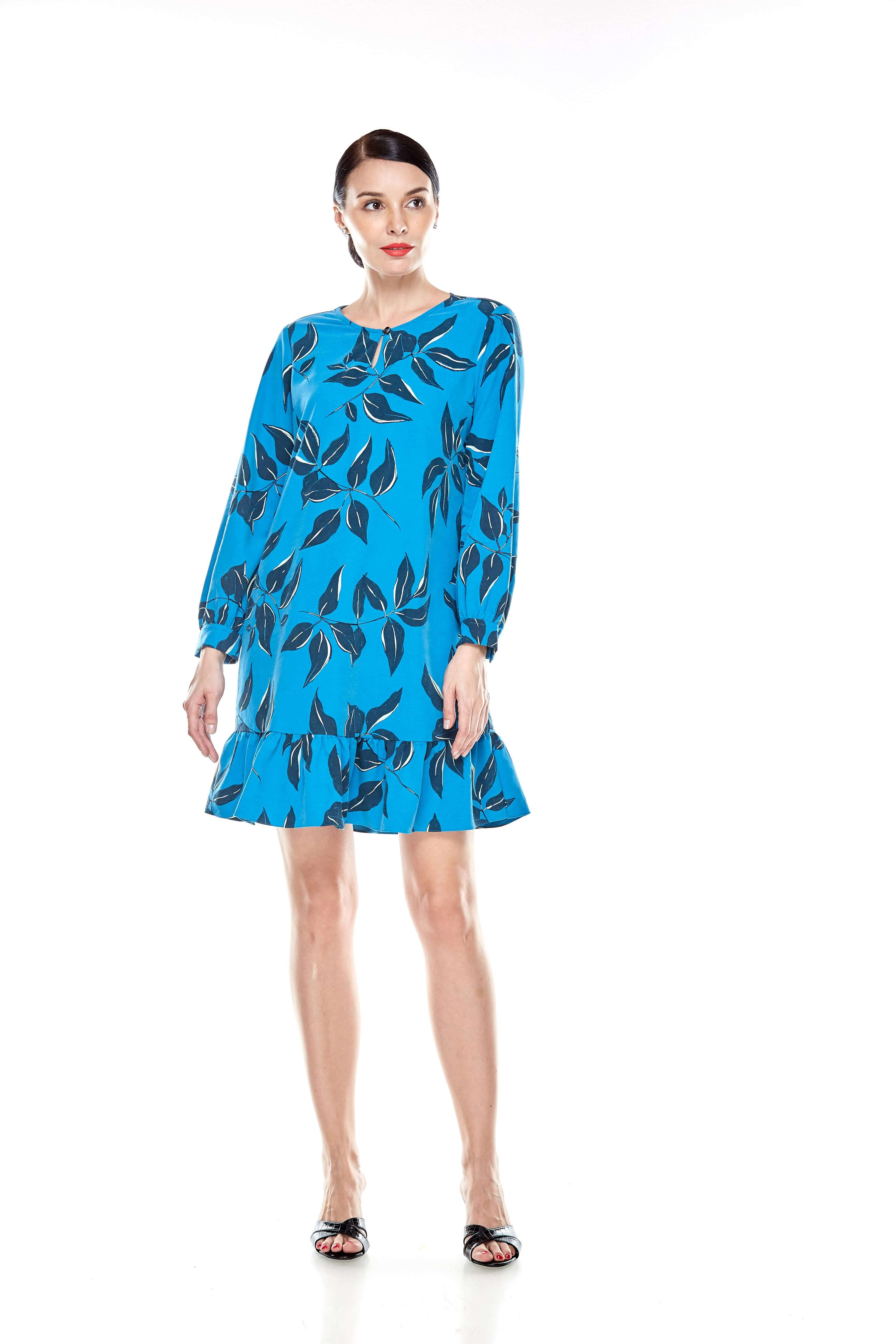 Mosaic Blue Printed Tunic With Bow Sleeves (8)