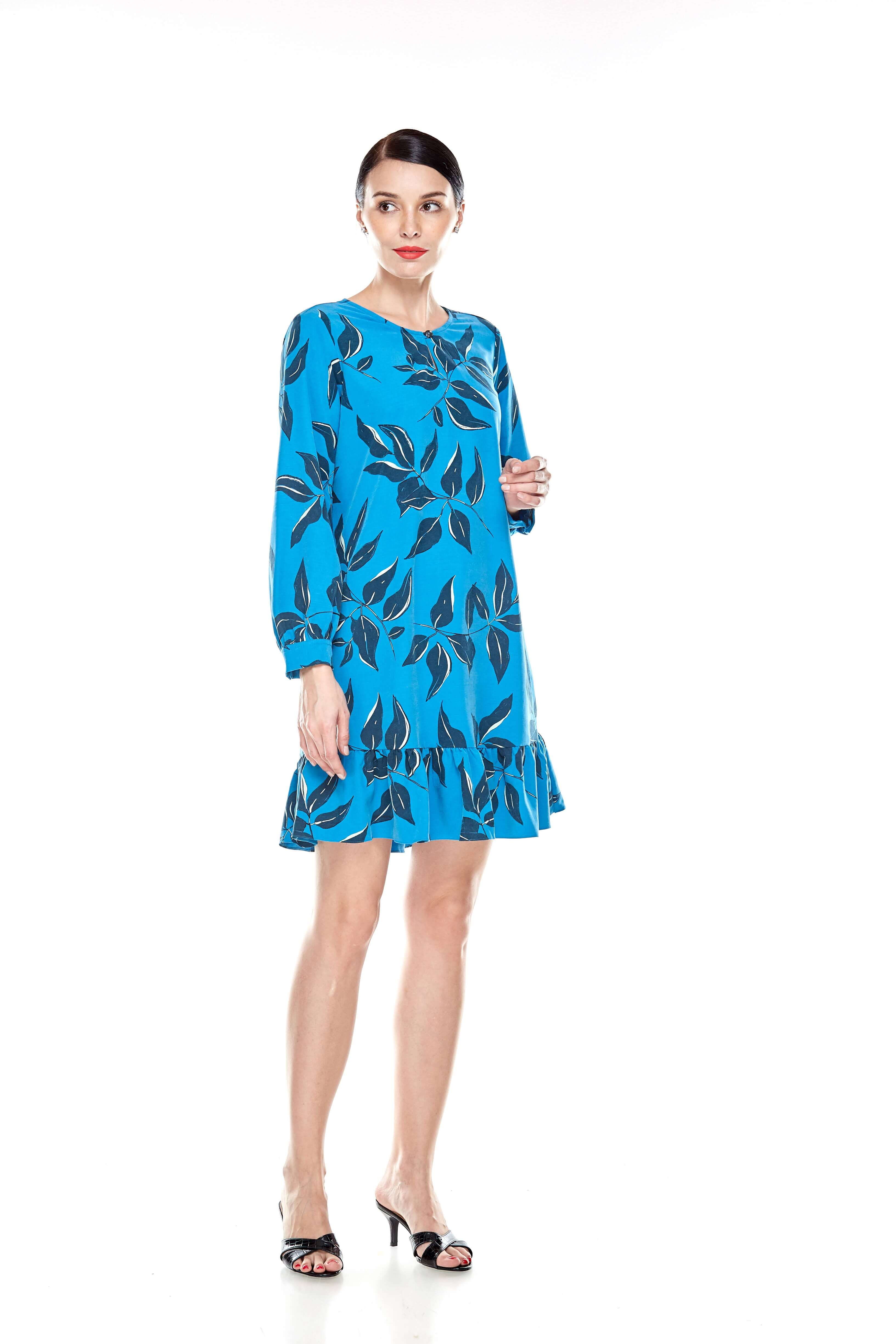 Mosaic Blue Printed Tunic With Bow Sleeves (9)