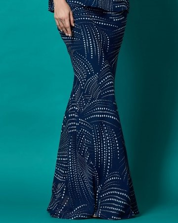 Polka Dot Blue Skirt With Side Panel