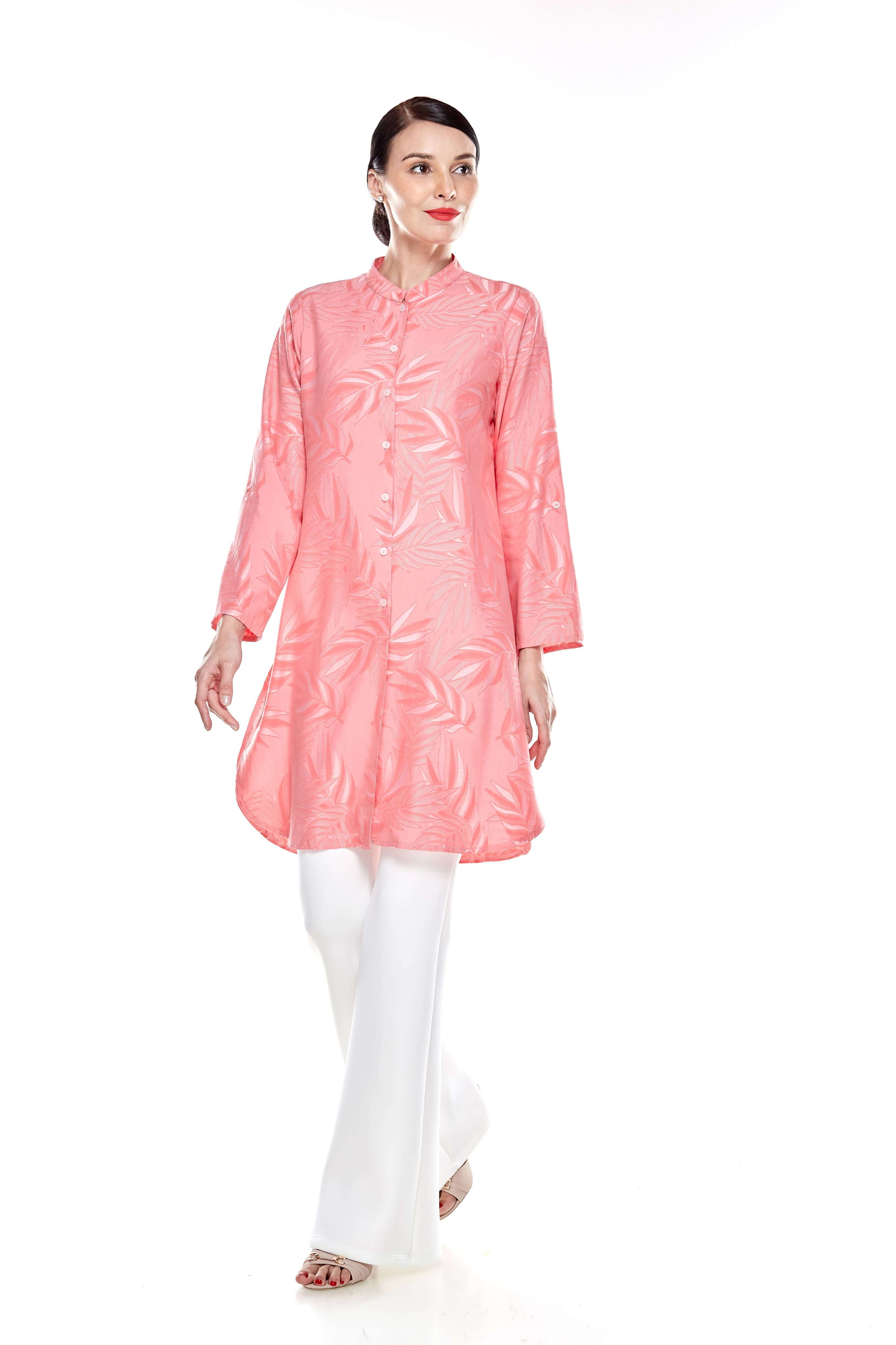 Salmon Rose Stand Collar Button Down Tunic (10)