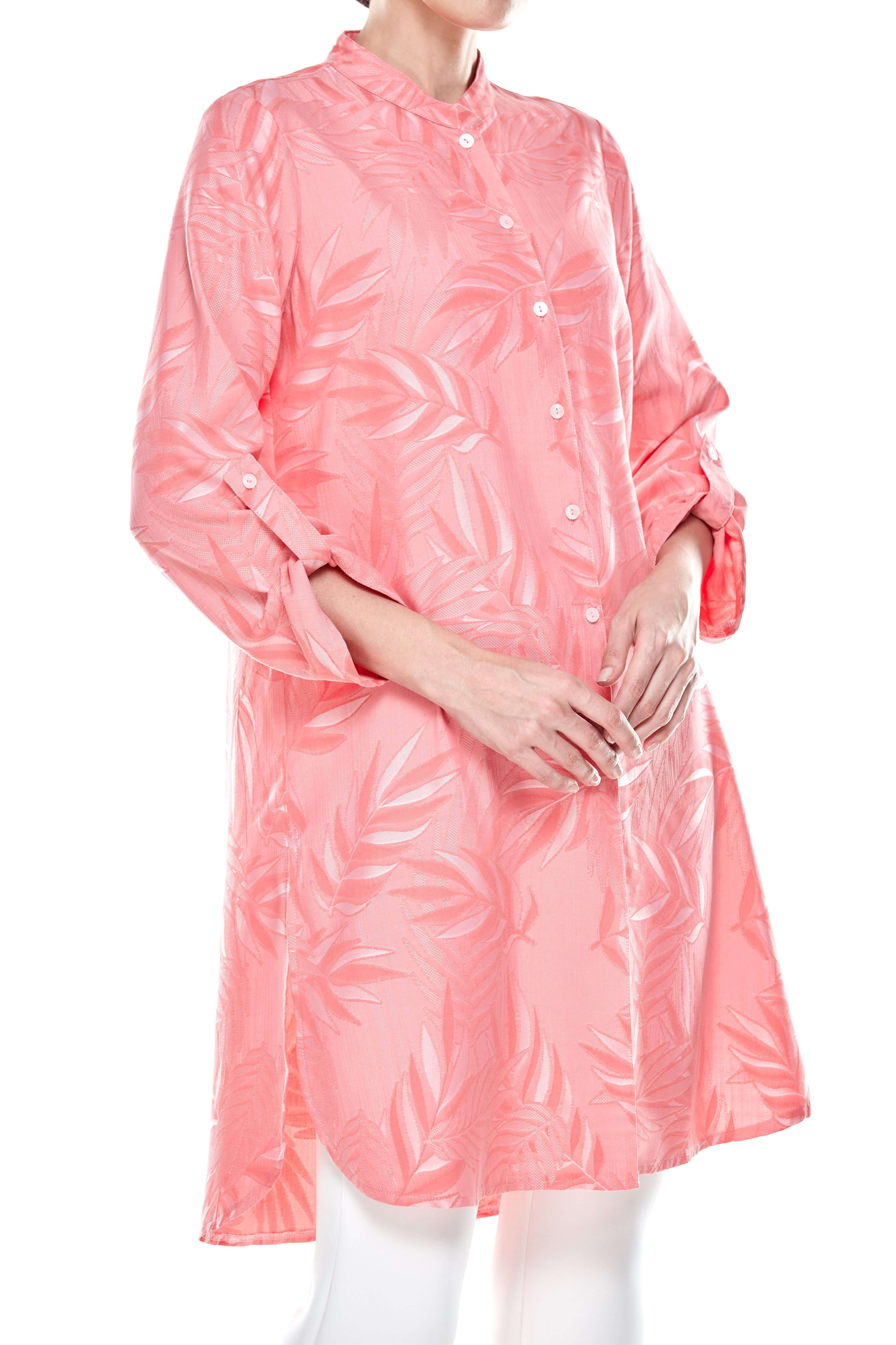 Salmon Rose Stand Collar Button Down Tunic (2)