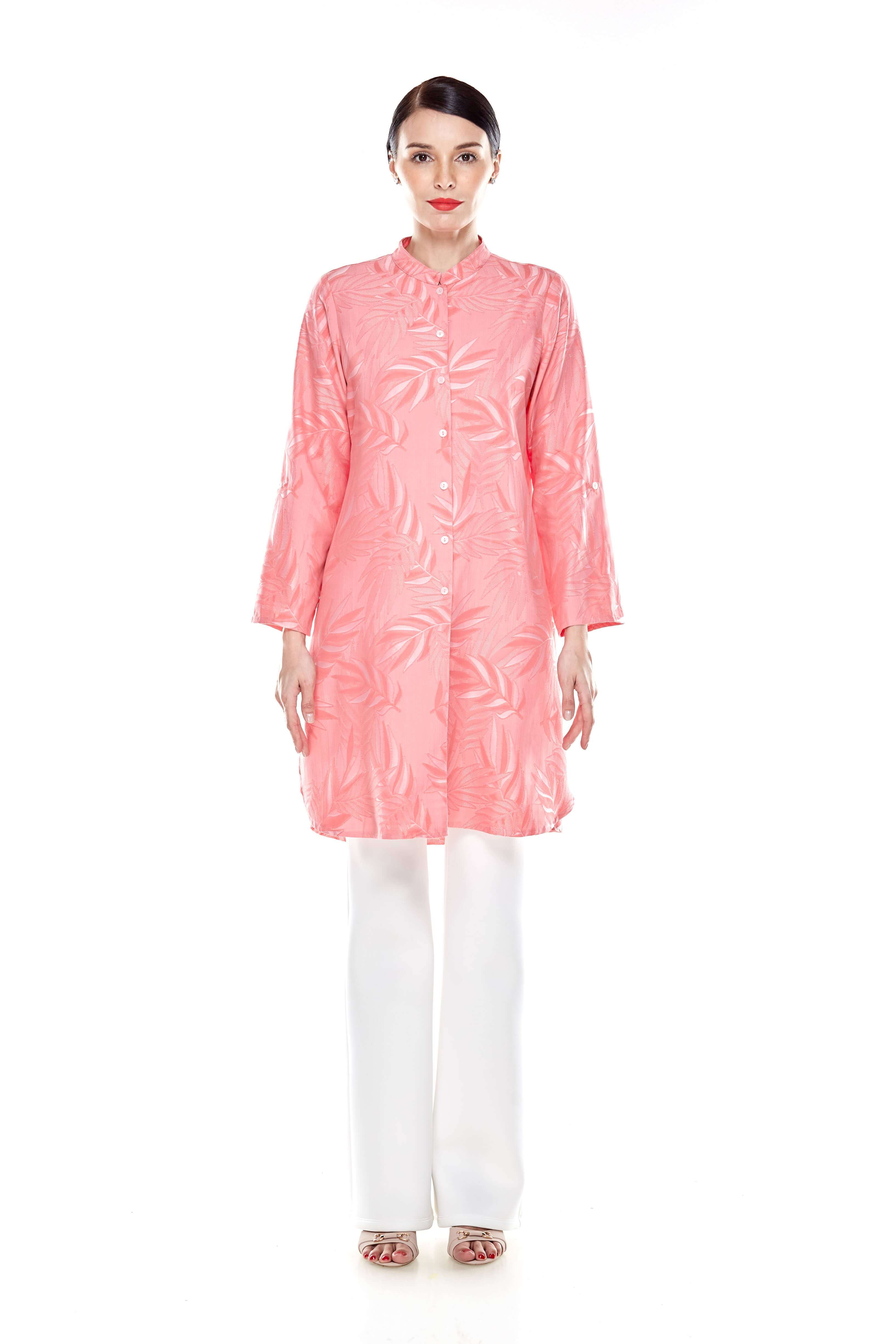 Salmon Rose Stand Collar Button Down Tunic (3)