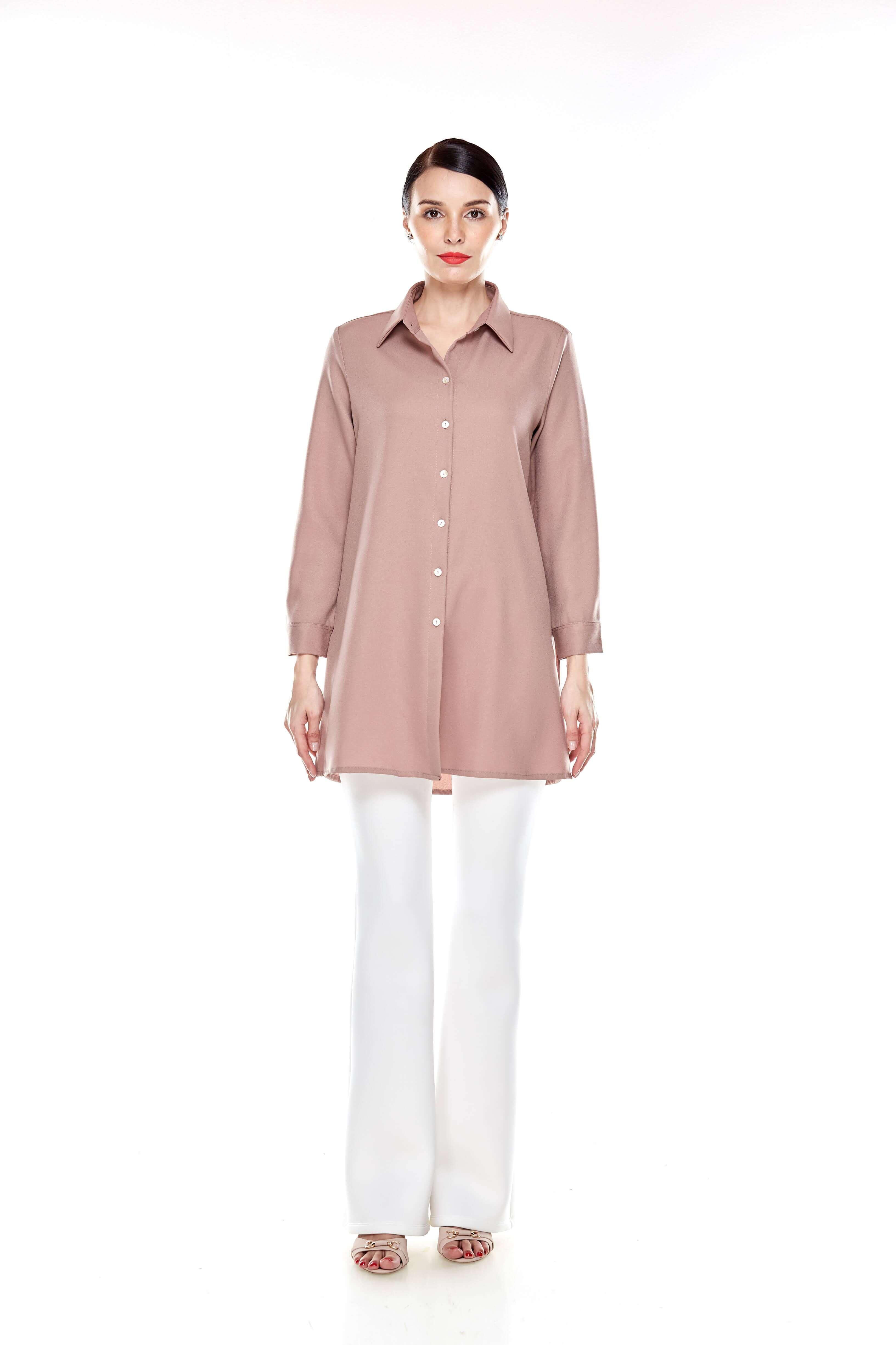 Warm Taupe Shirt Blouse (2)