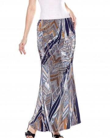Navy Printed Ruching Mermaid Skirt