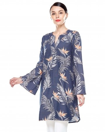 Navy Tropical Printed Bell Sleeve Tunic