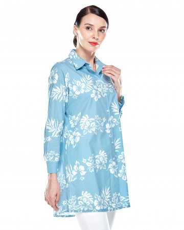 Blue Hibiscus Shirt Blouse