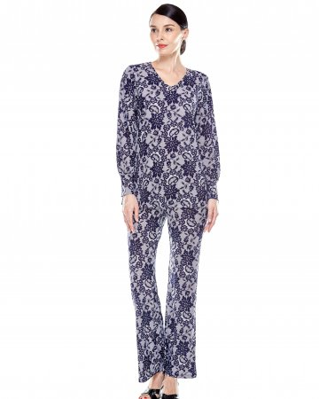 Blue Lace Print V Neck Blouse