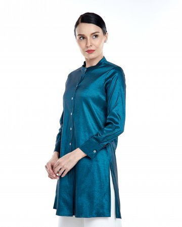 Emerald Green Stand Collar Blouse