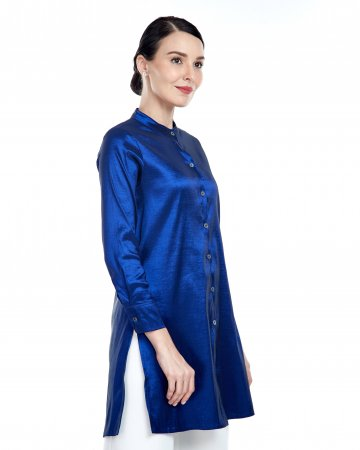 Royal Blue Stand Collar Blouse