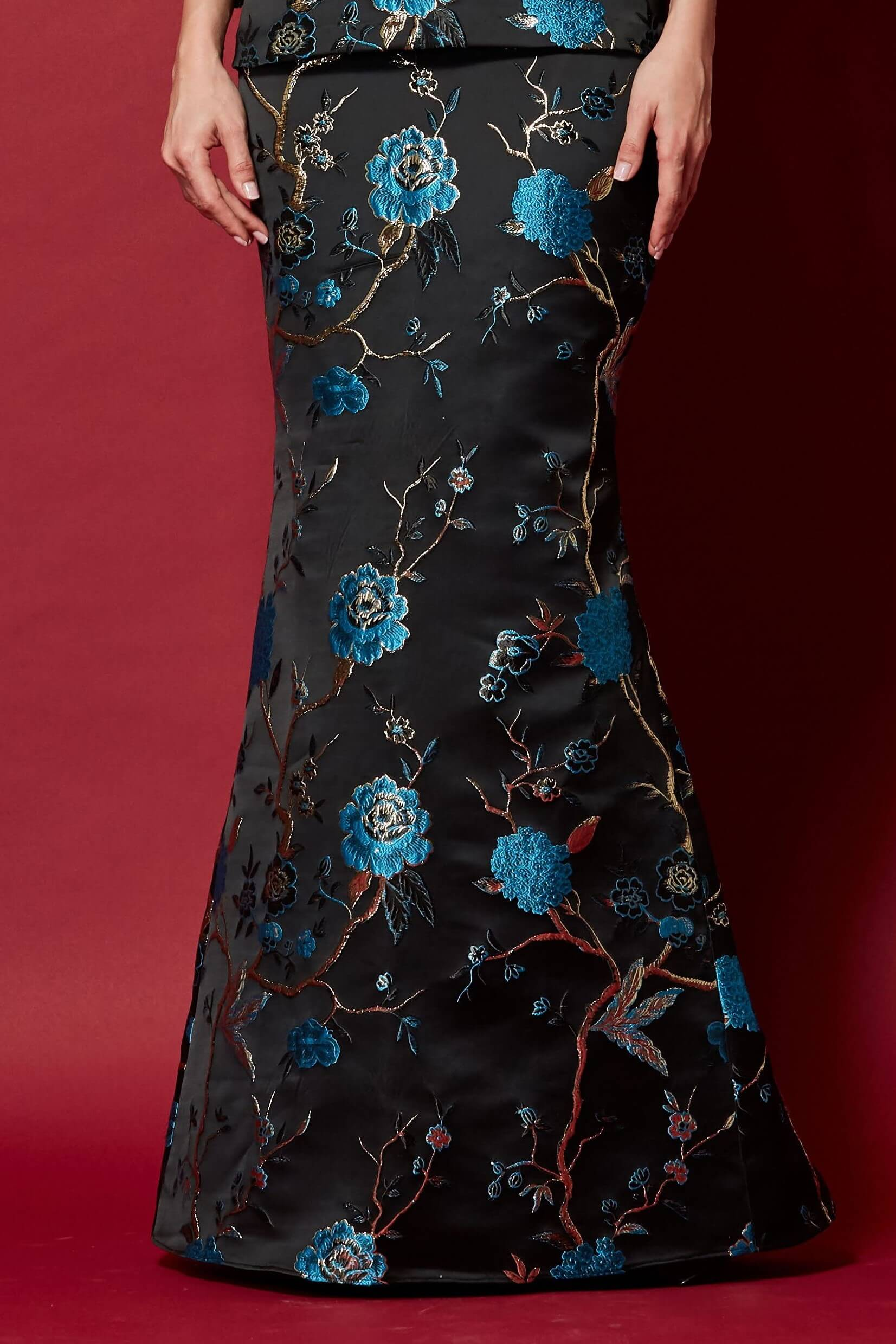 Black-Blue Floral Mermaid Skirt (2)