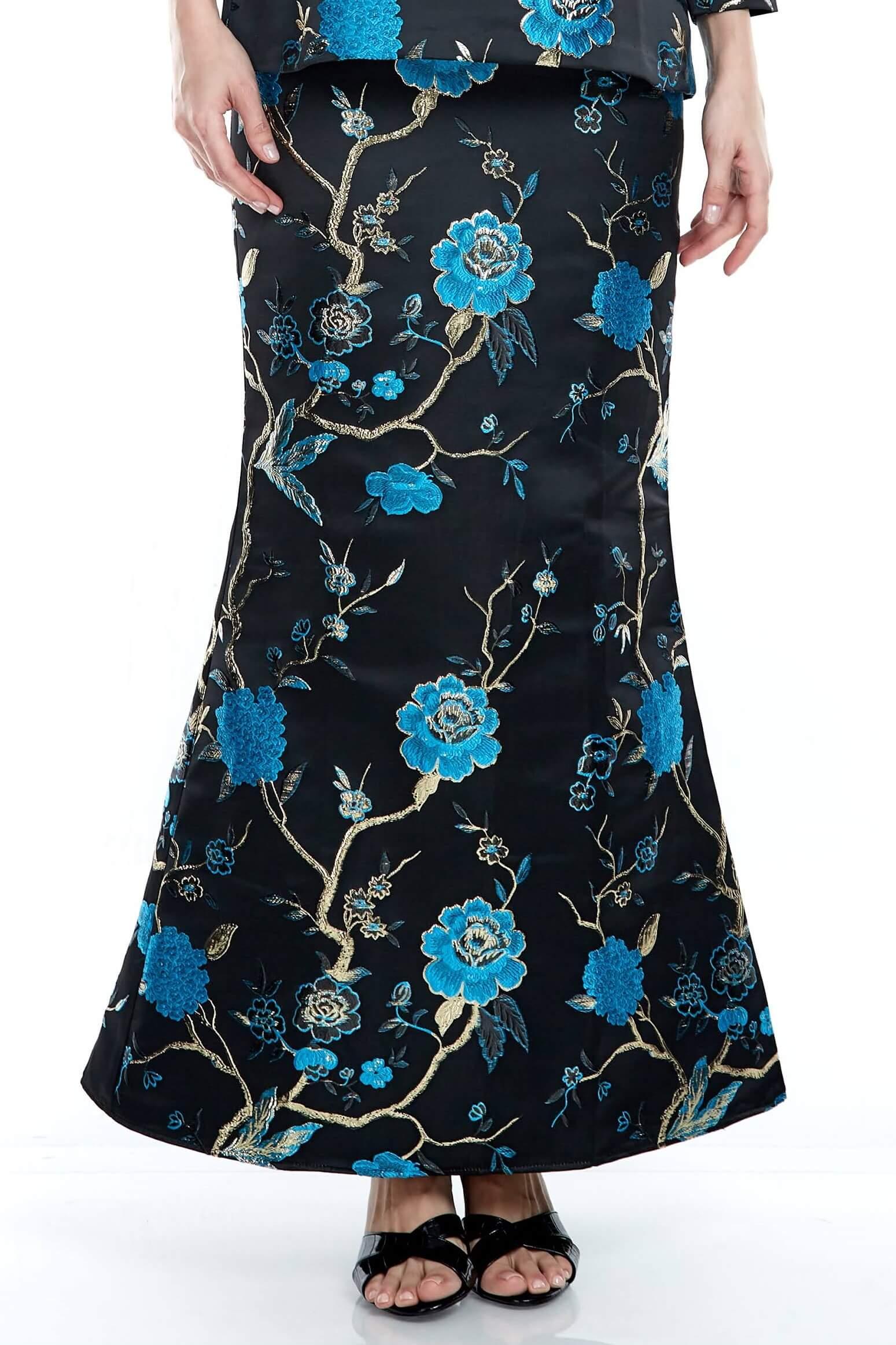 Black-Blue Floral Mermaid Skirt (3)