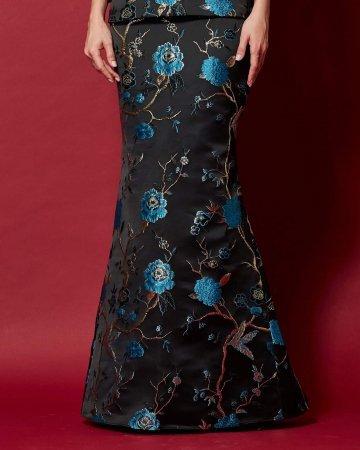 Black-Blue Floral Mermaid Skirt