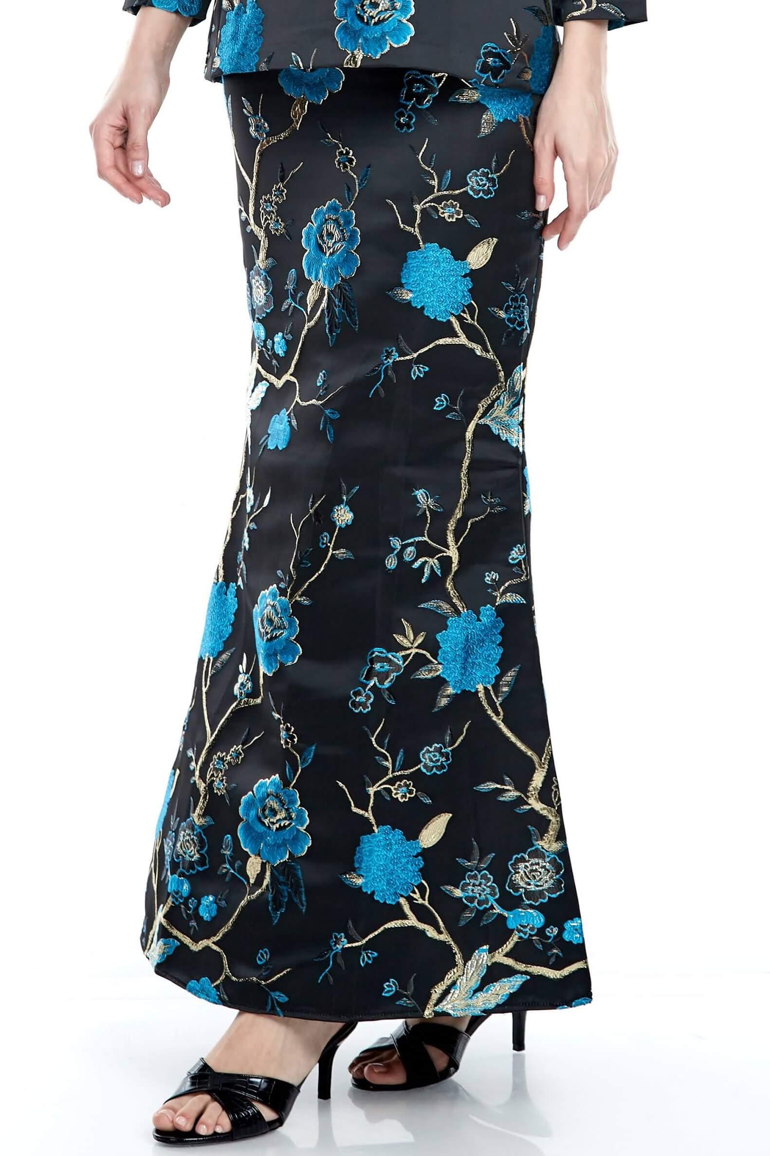 Black-Blue Floral Mermaid Skirt (4)