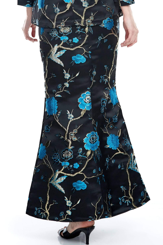 Black-Blue Floral Mermaid Skirt (5)