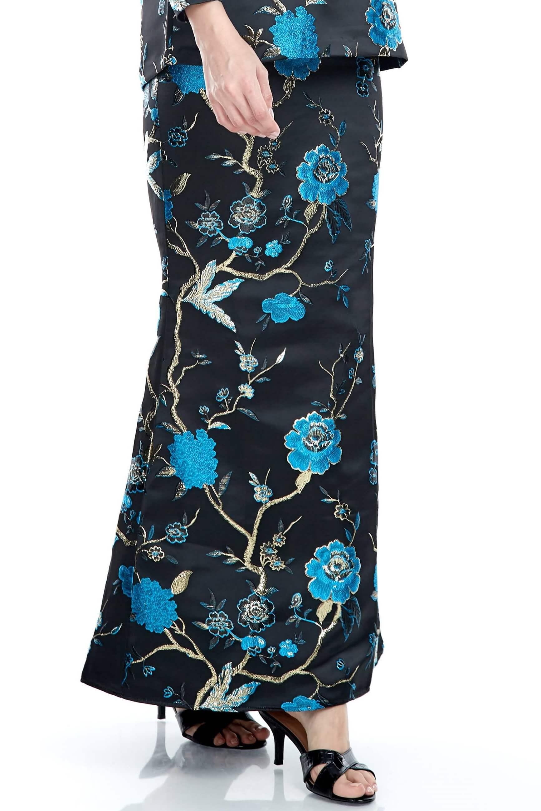 Black-Blue Floral Mermaid Skirt (6)