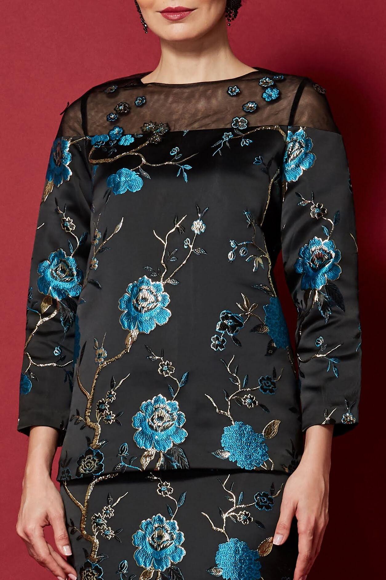 Black-Blue Floral Round Neck With See Through Neckline (2)