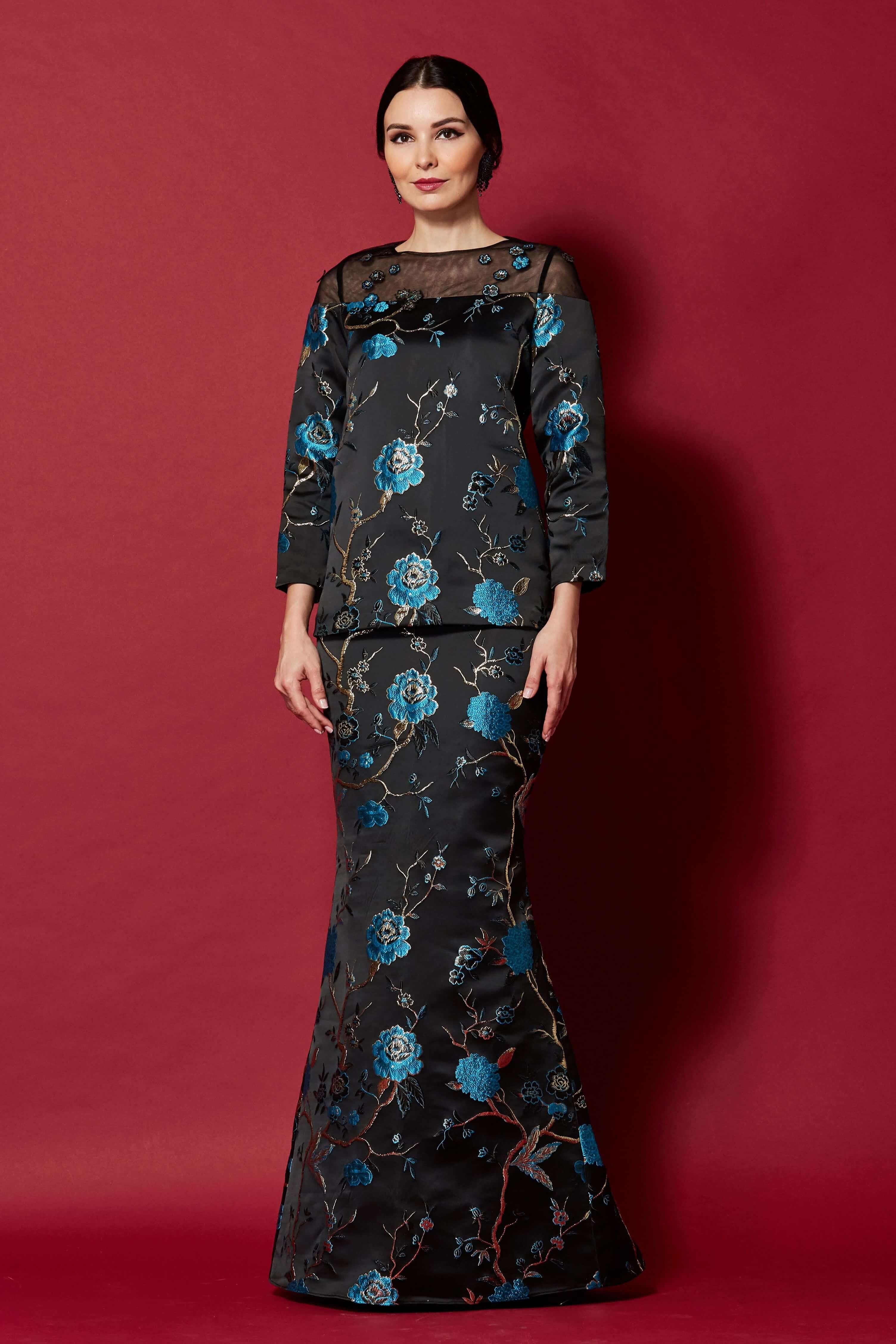 Black-Blue Floral Round Neck With See Through Neckline (3)
