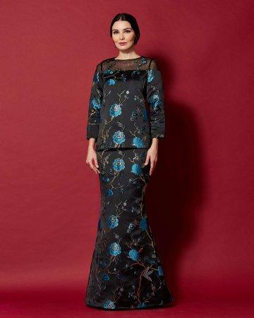 Black-Blue Floral Round Neck With See Through Neckline