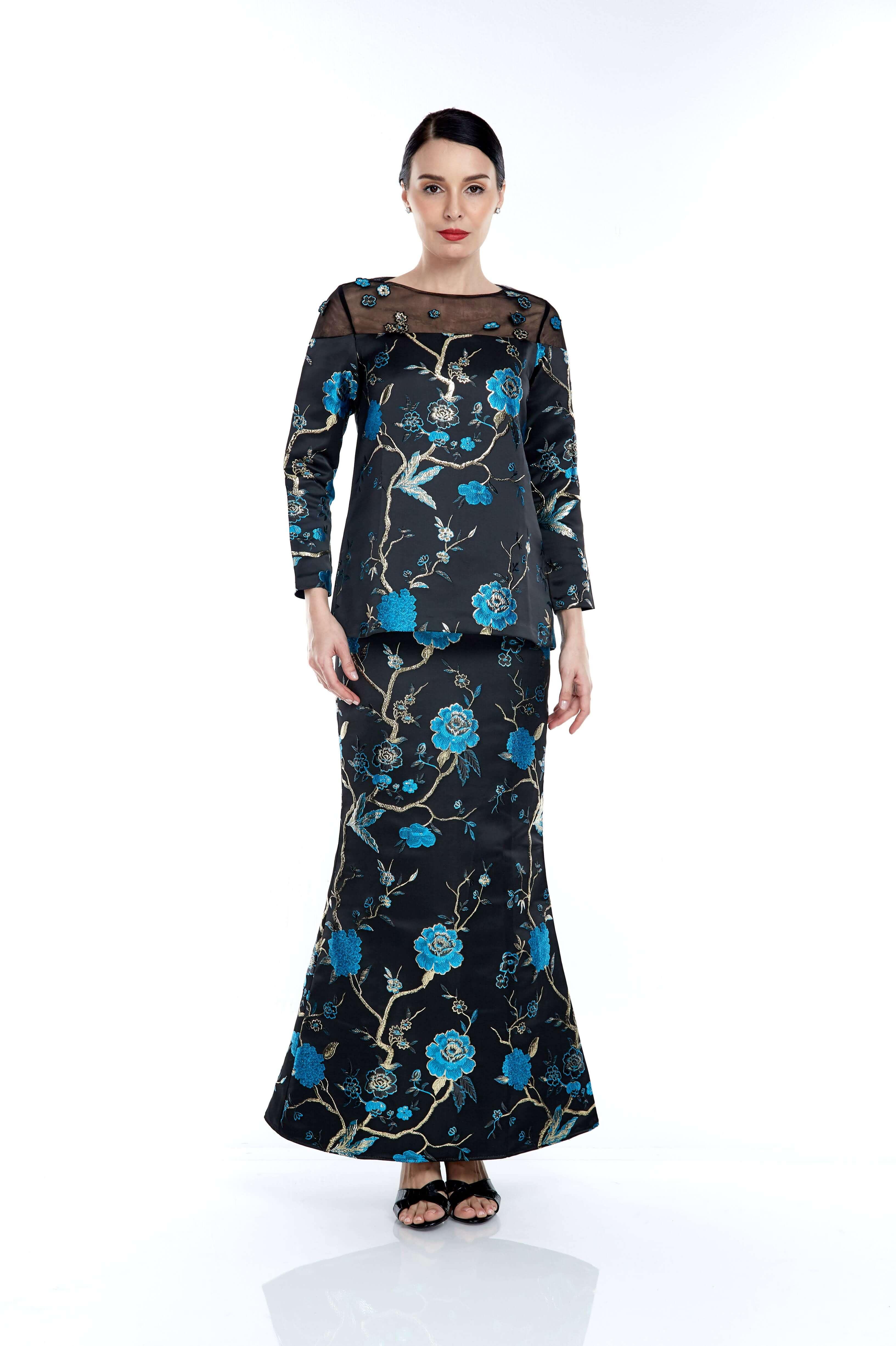 Black-Blue Floral Round Neck With See Through Neckline (4)