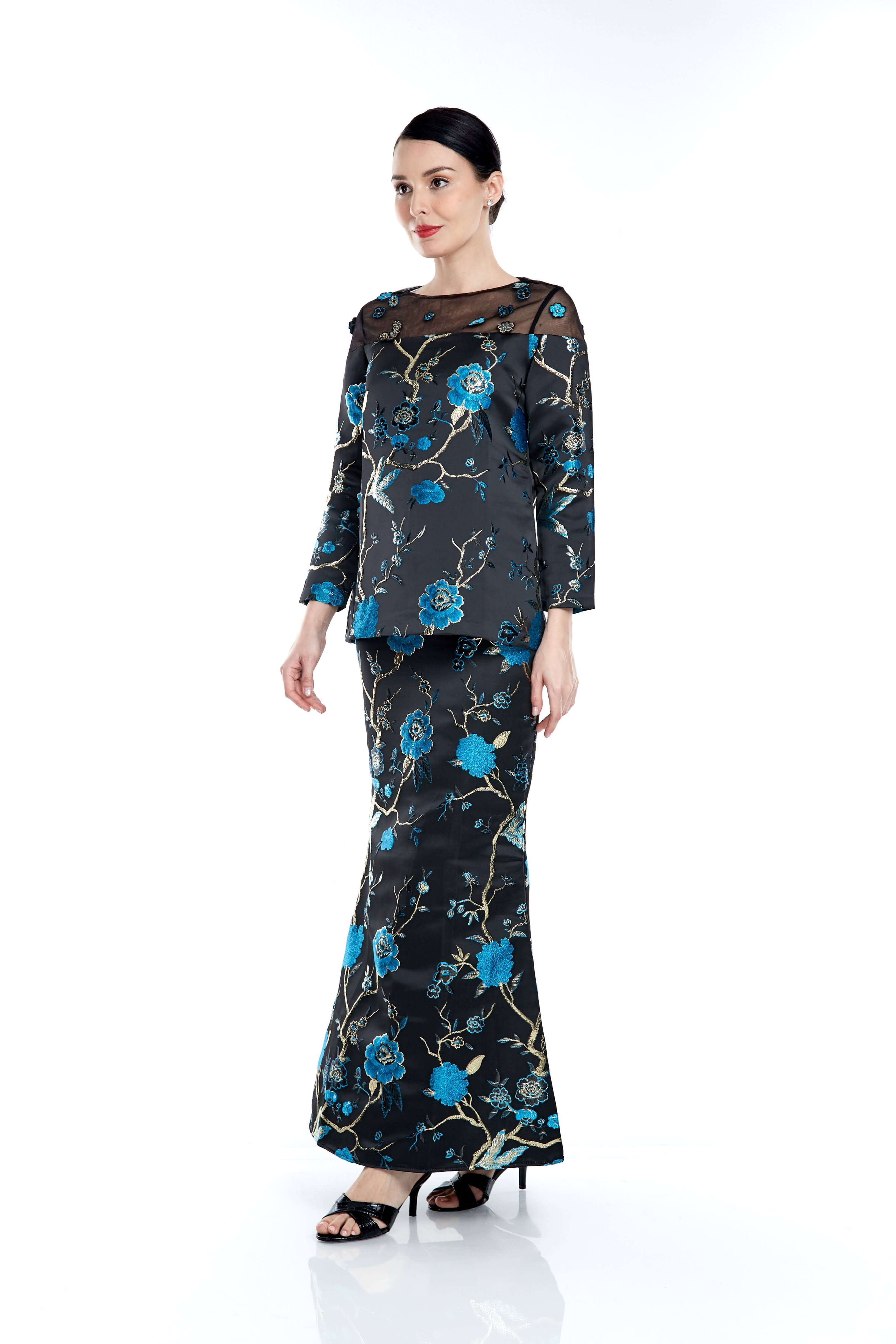 Black-Blue Floral Round Neck With See Through Neckline (5)