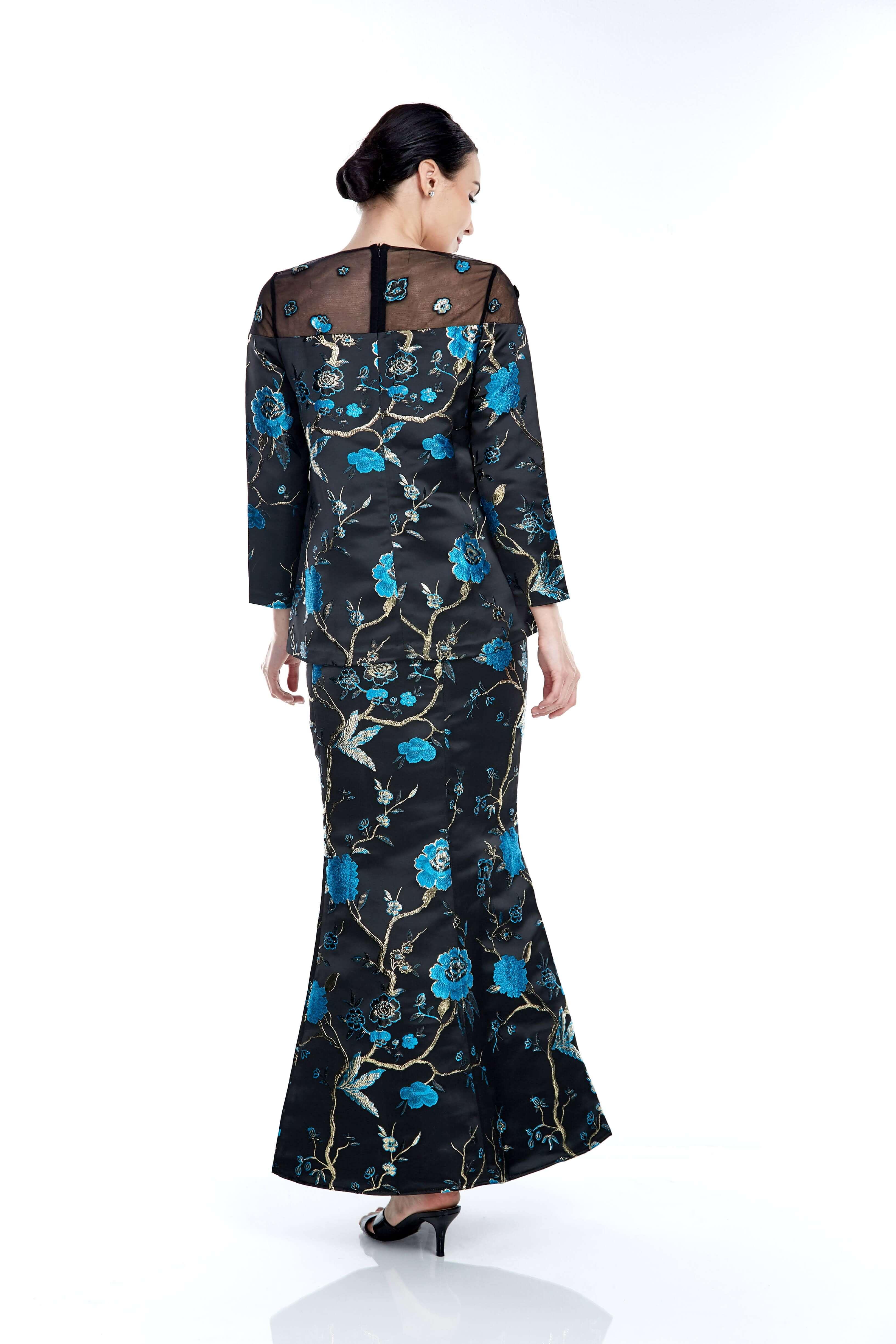 Black-Blue Floral Round Neck With See Through Neckline (6)