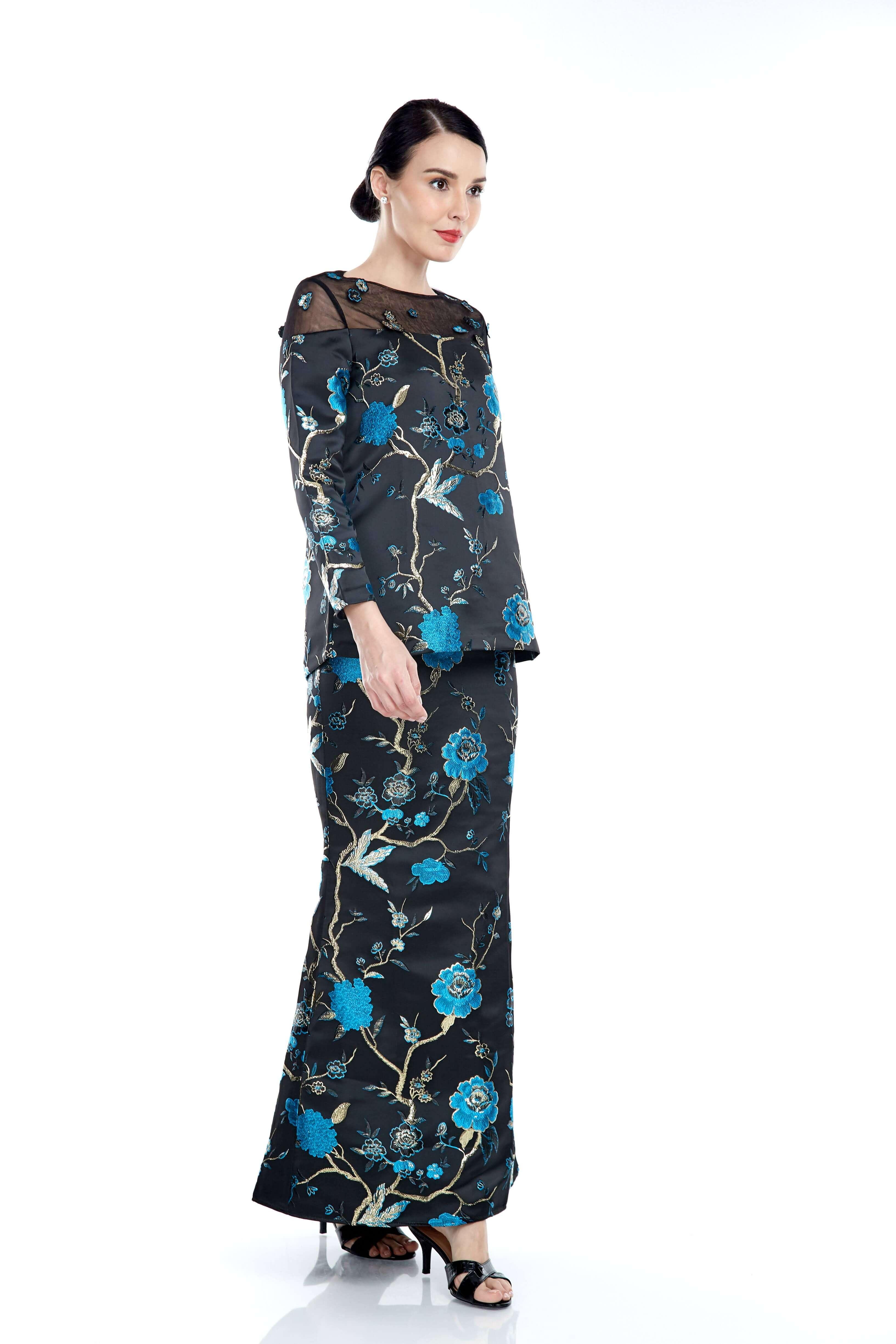 Black-Blue Floral Round Neck With See Through Neckline (7)