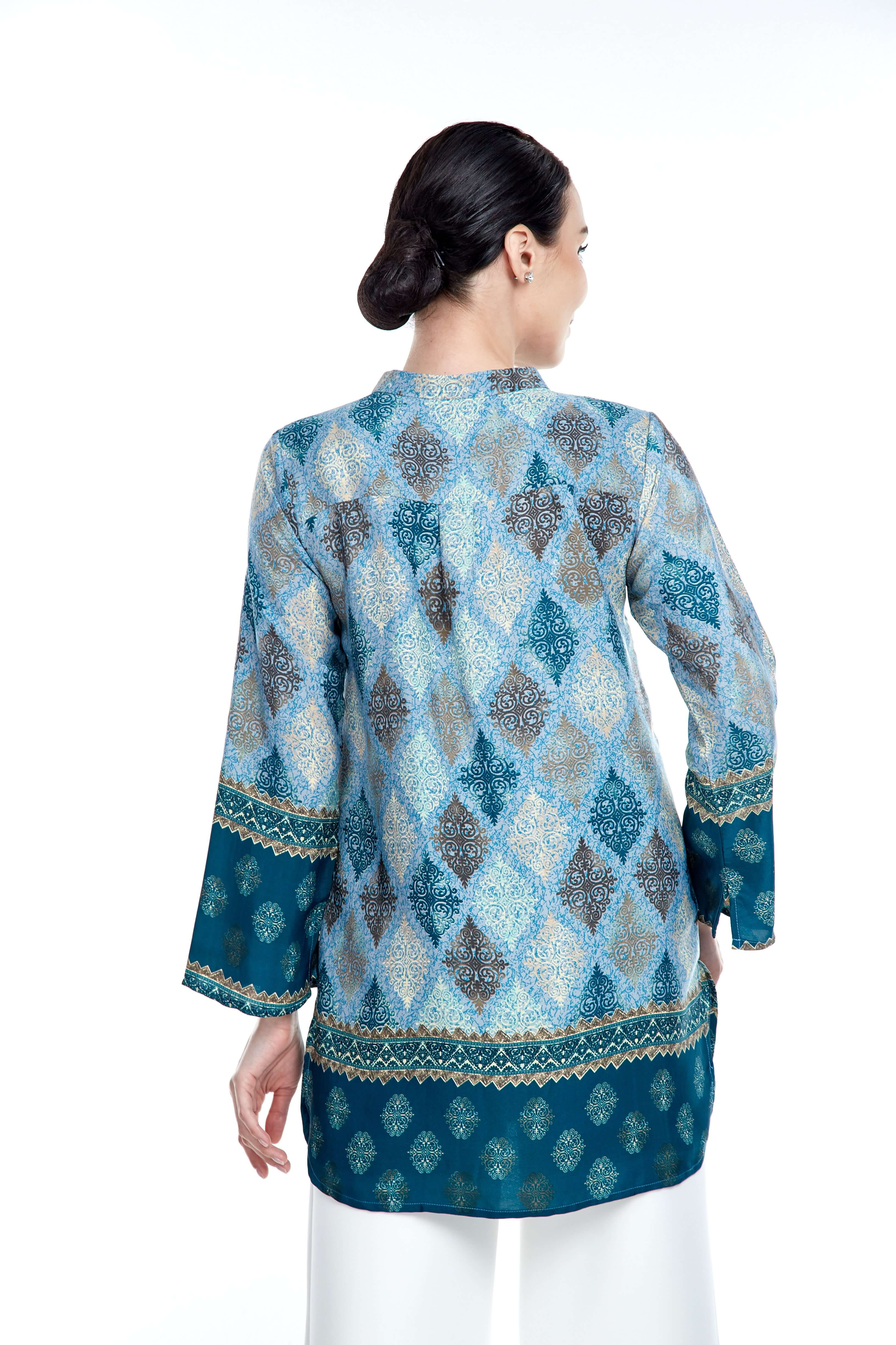 Blue Border Stand Collar Blouse (2)