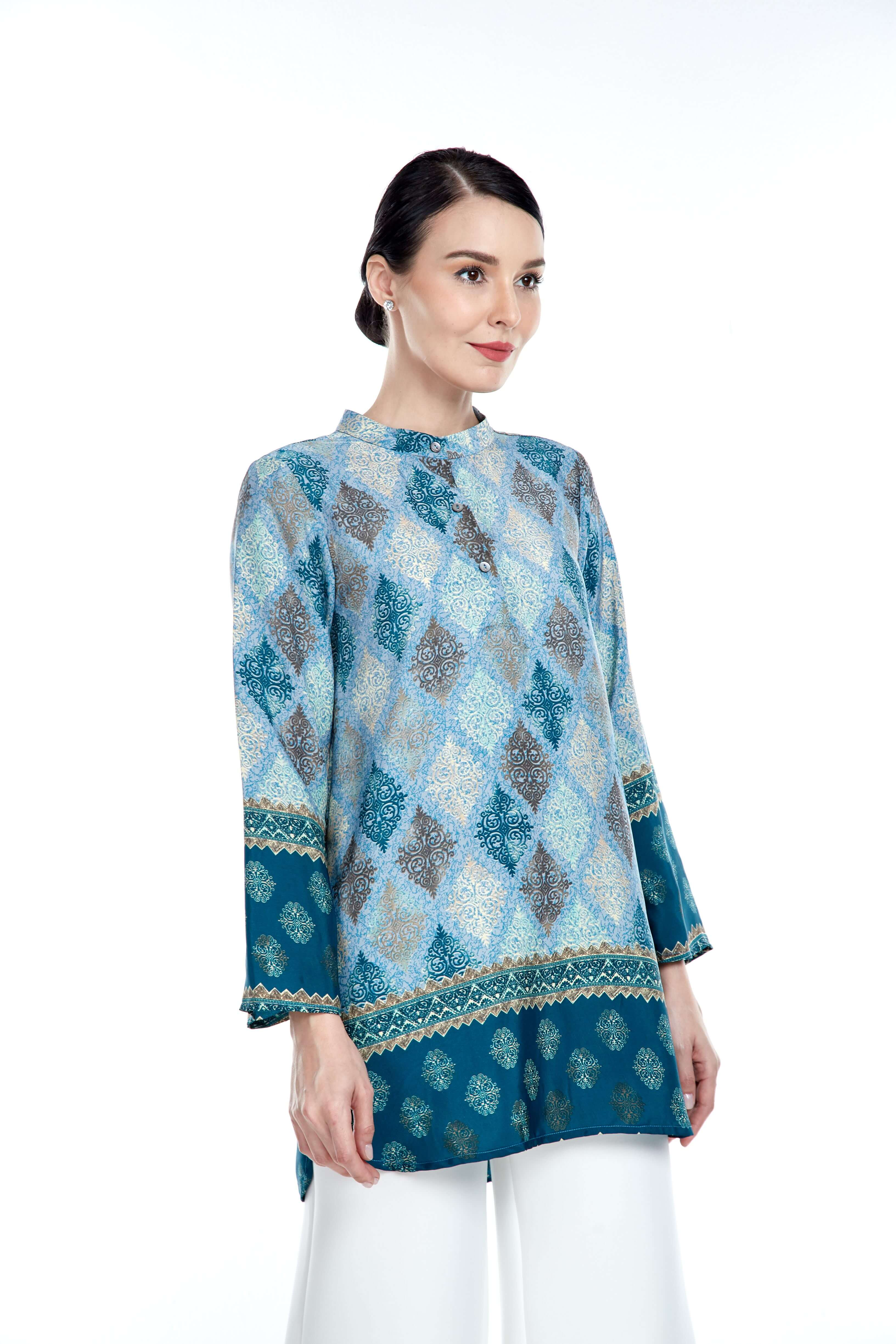 Blue Border Stand Collar Blouse (3)