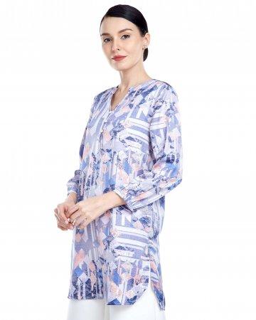Blue-Purple Printed Mandarin Collar Blouse