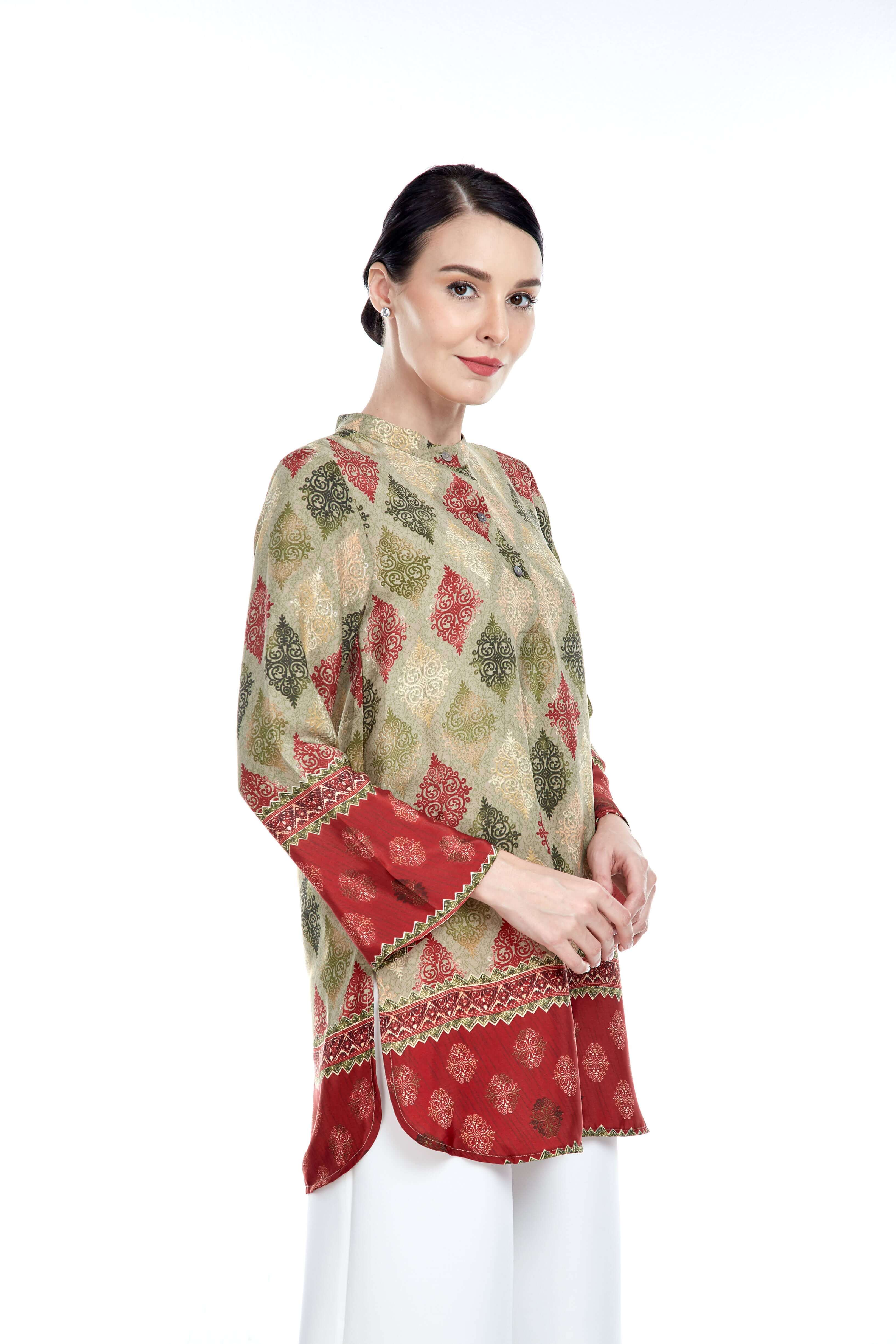 Green-Red Border Stand Collar Blouse (5)