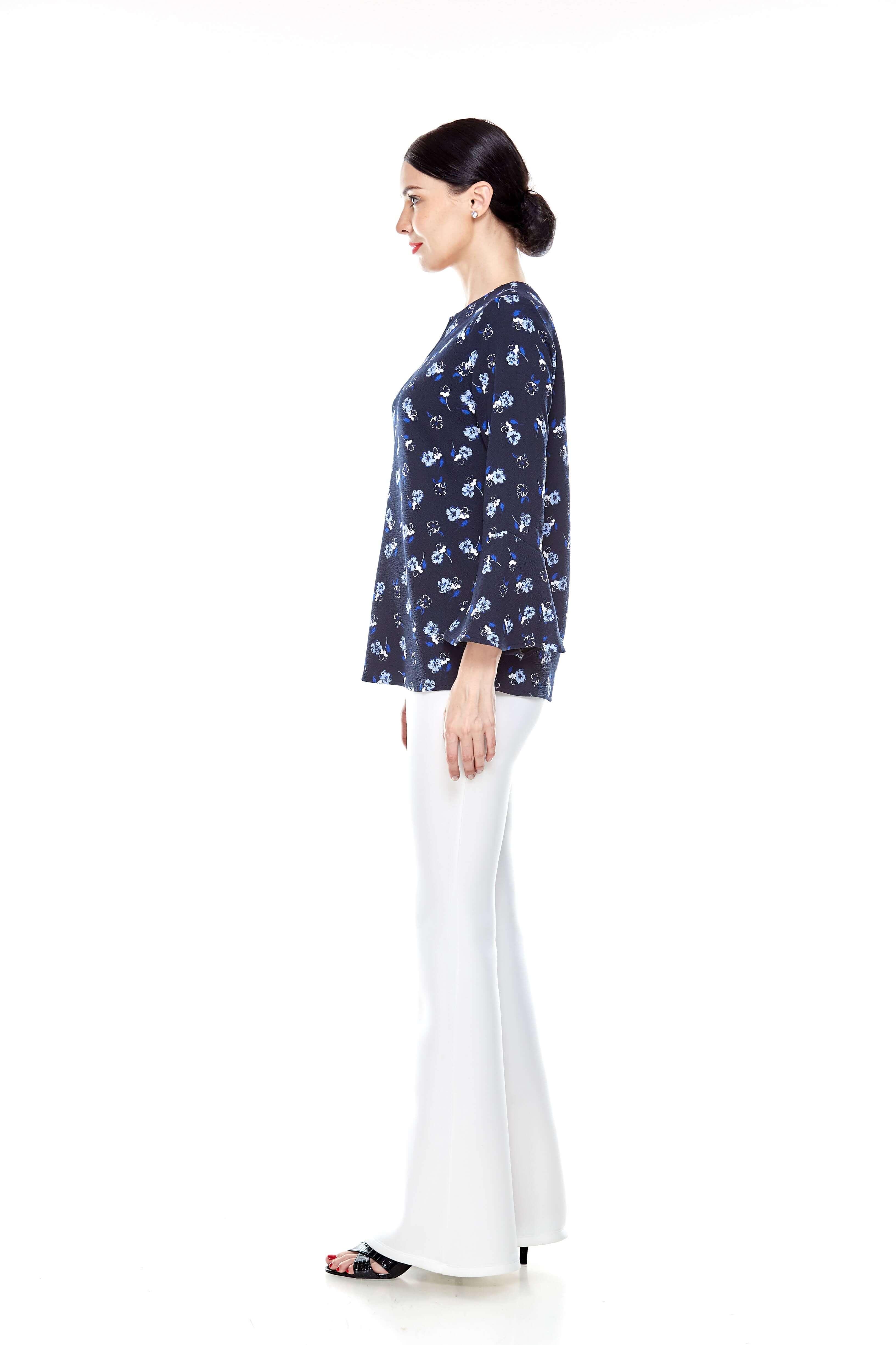 Navy Flower Ruffle Sleeve Blouse (3)