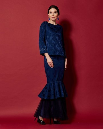Navy Round Neck Top With Beading On Sleeve