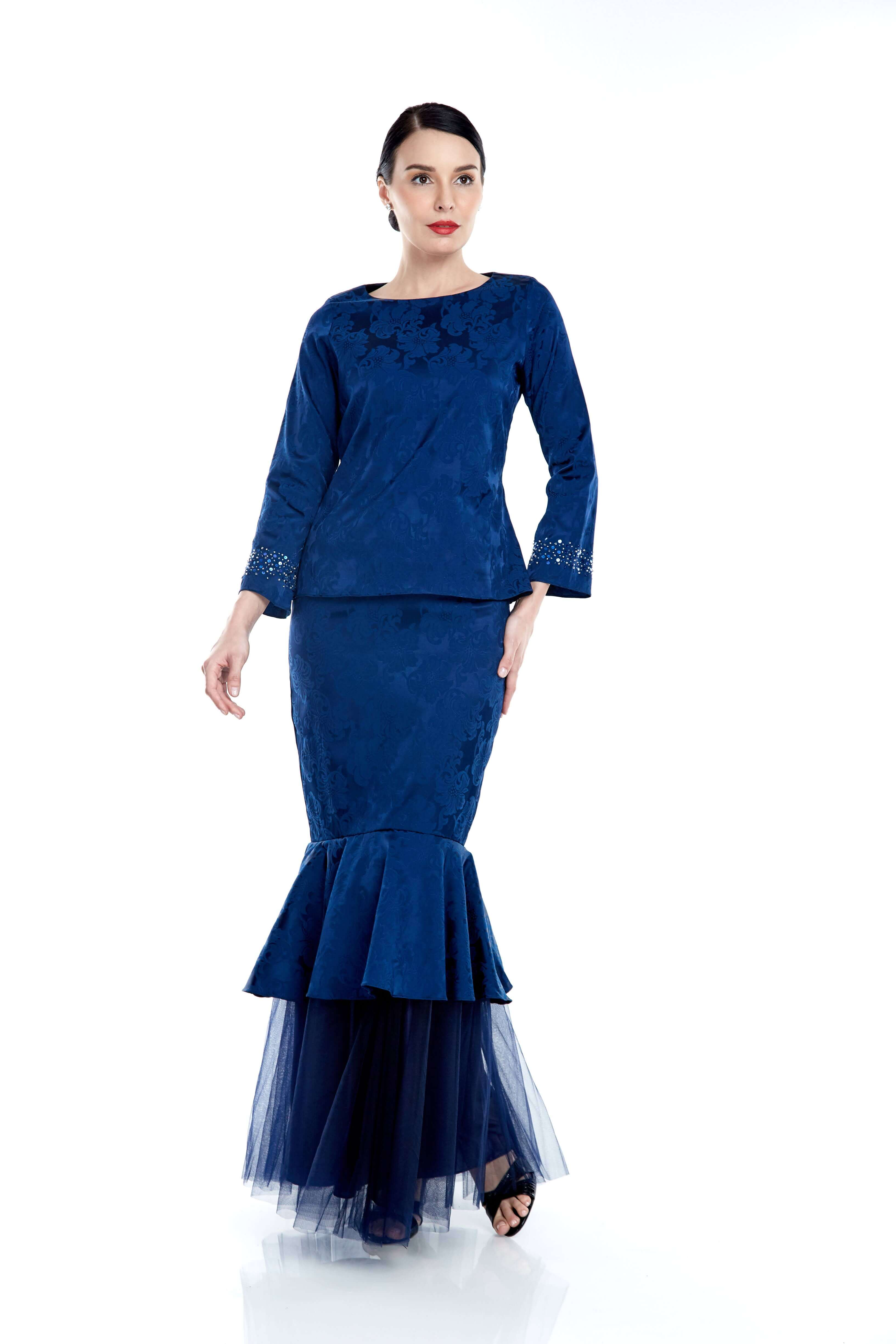 Navy Round Neck Top With Beading On Sleeve (7)
