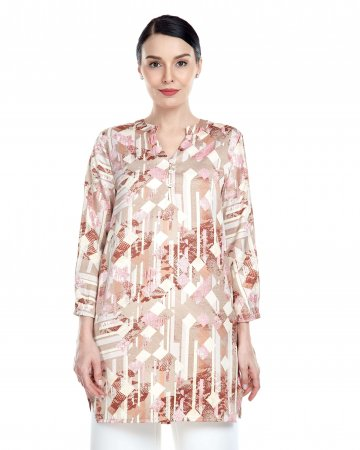 Pink-Beige Printed Mandarin Collar Blouse
