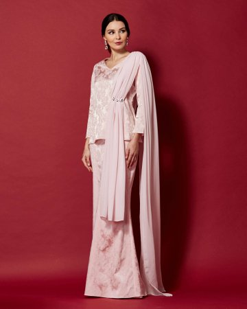 Pink Top With Attached Shawl & Embellishment