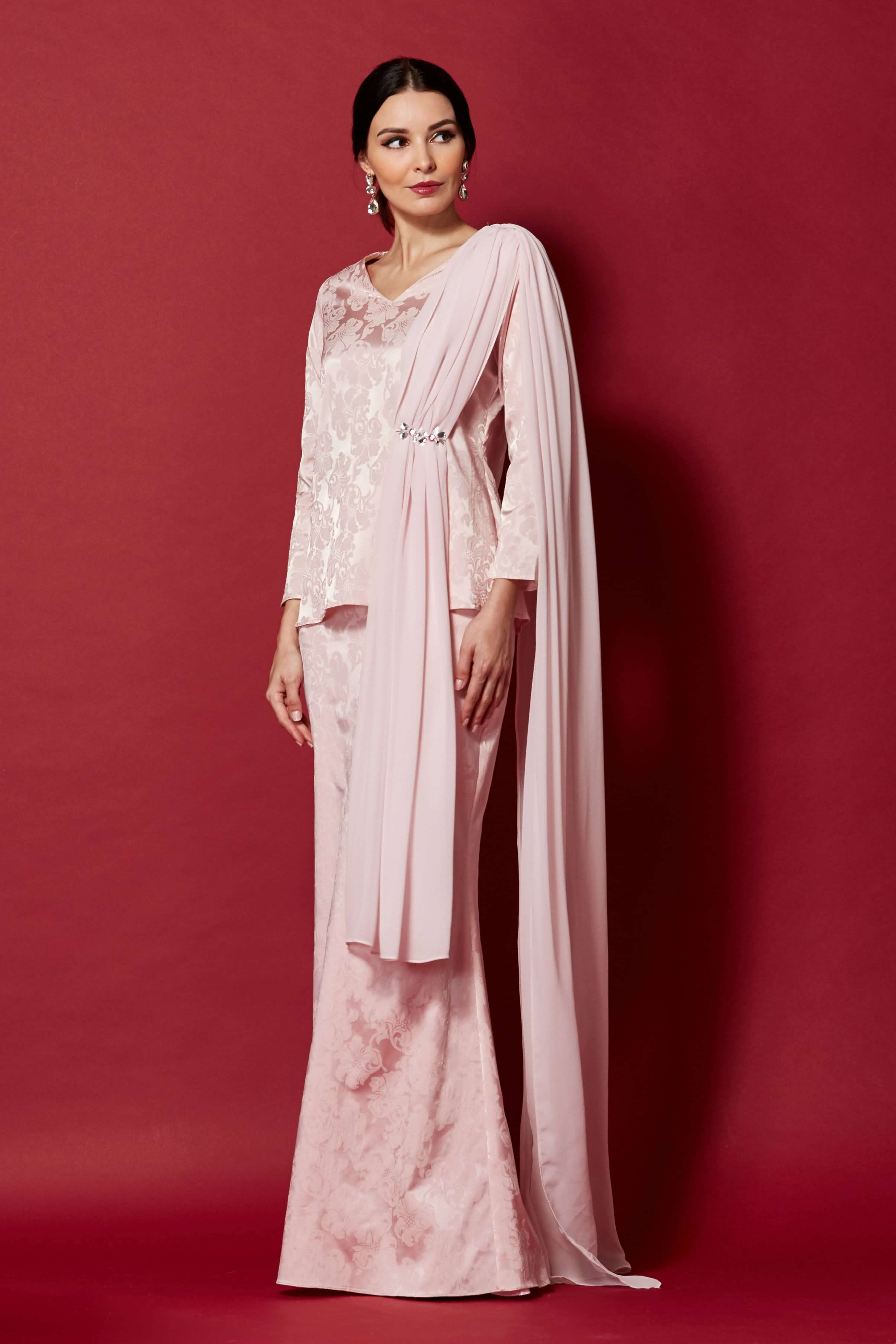 Pink Top With Attached Shawl & Embellishment (2)