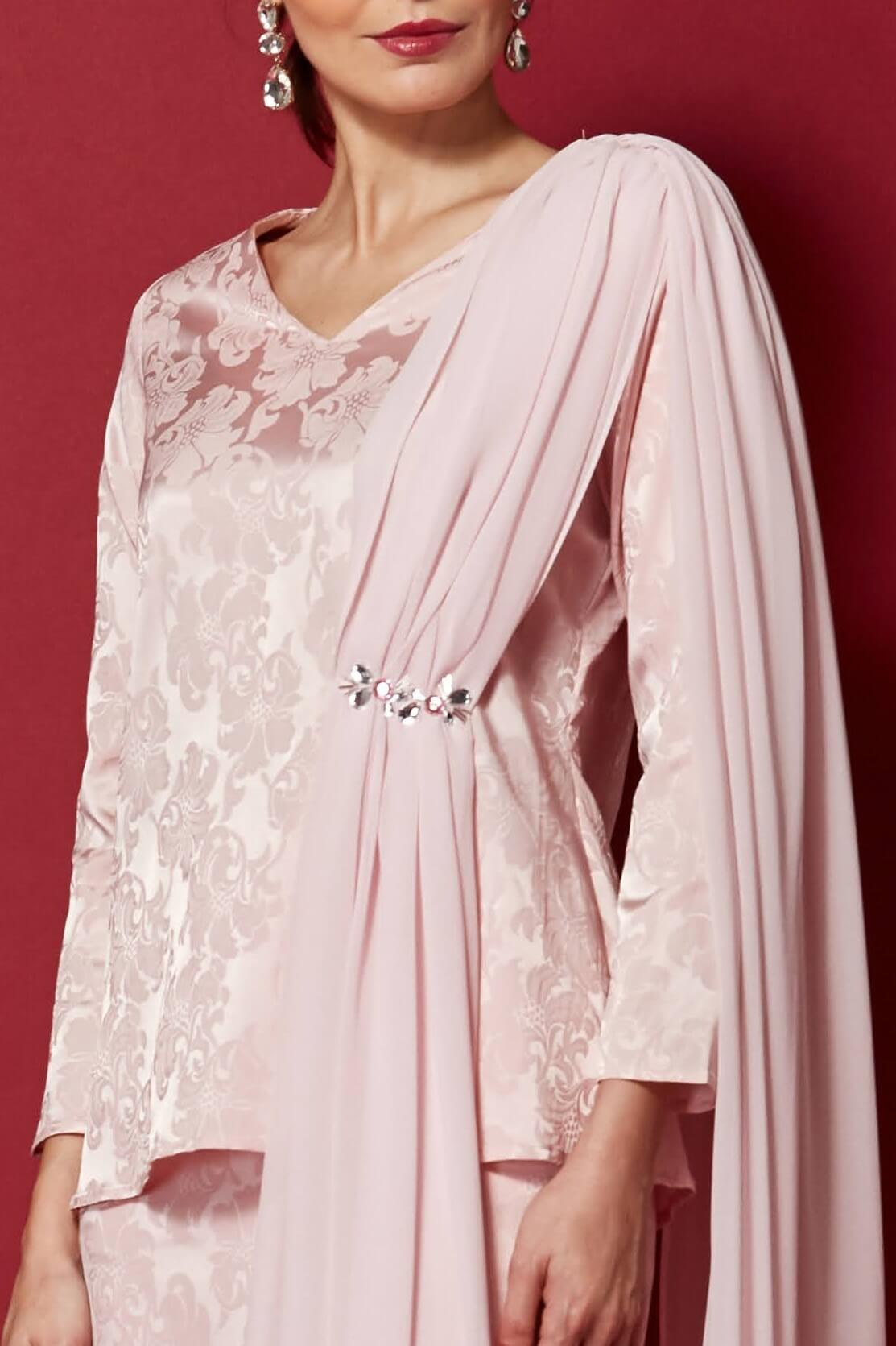 Pink Top With Attached Shawl & Embellishment (3)