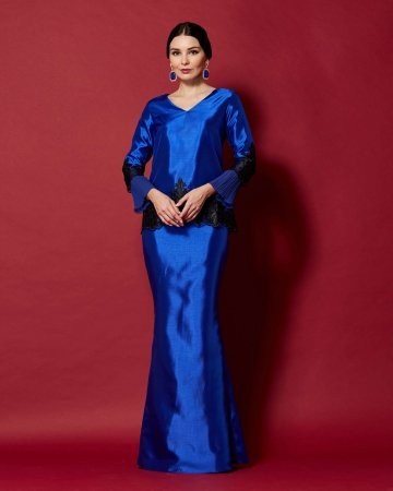 Royal Blue Top With Pleated Sleeve